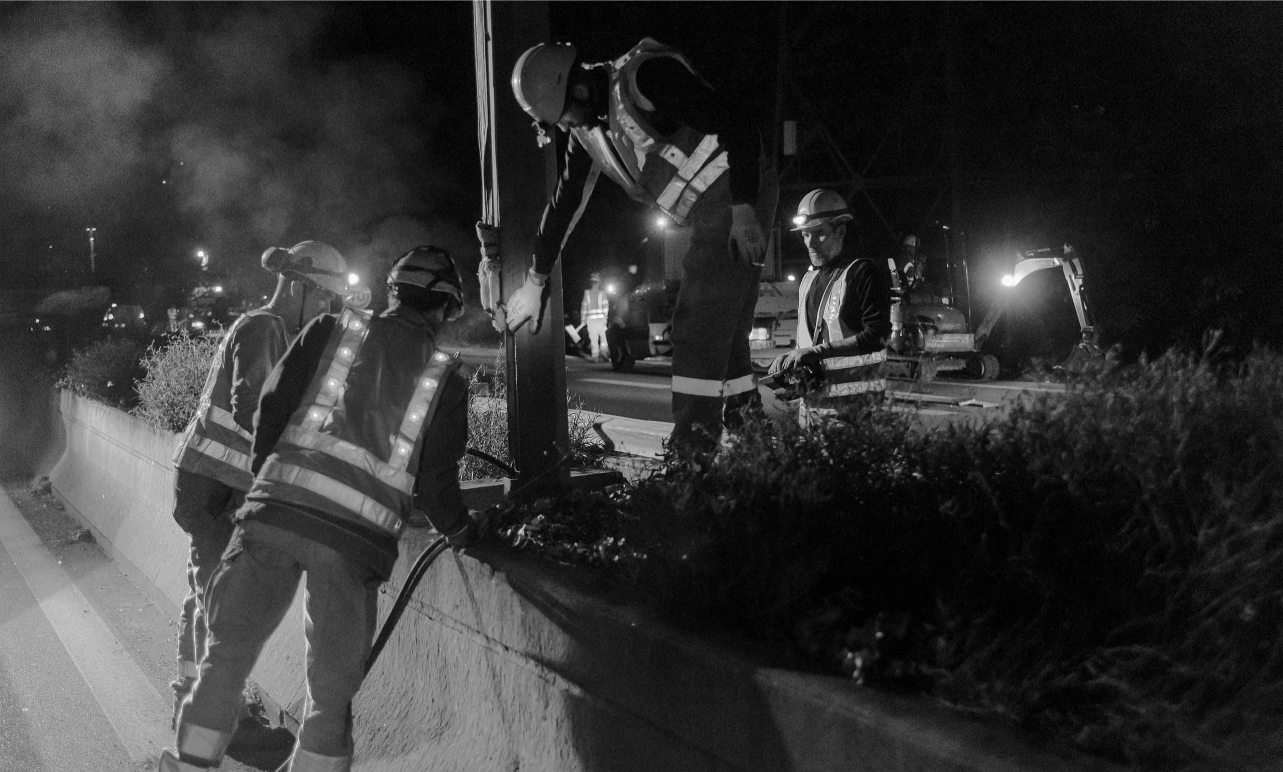 les équipes d'AREA à l'oeuvre durant la nuit