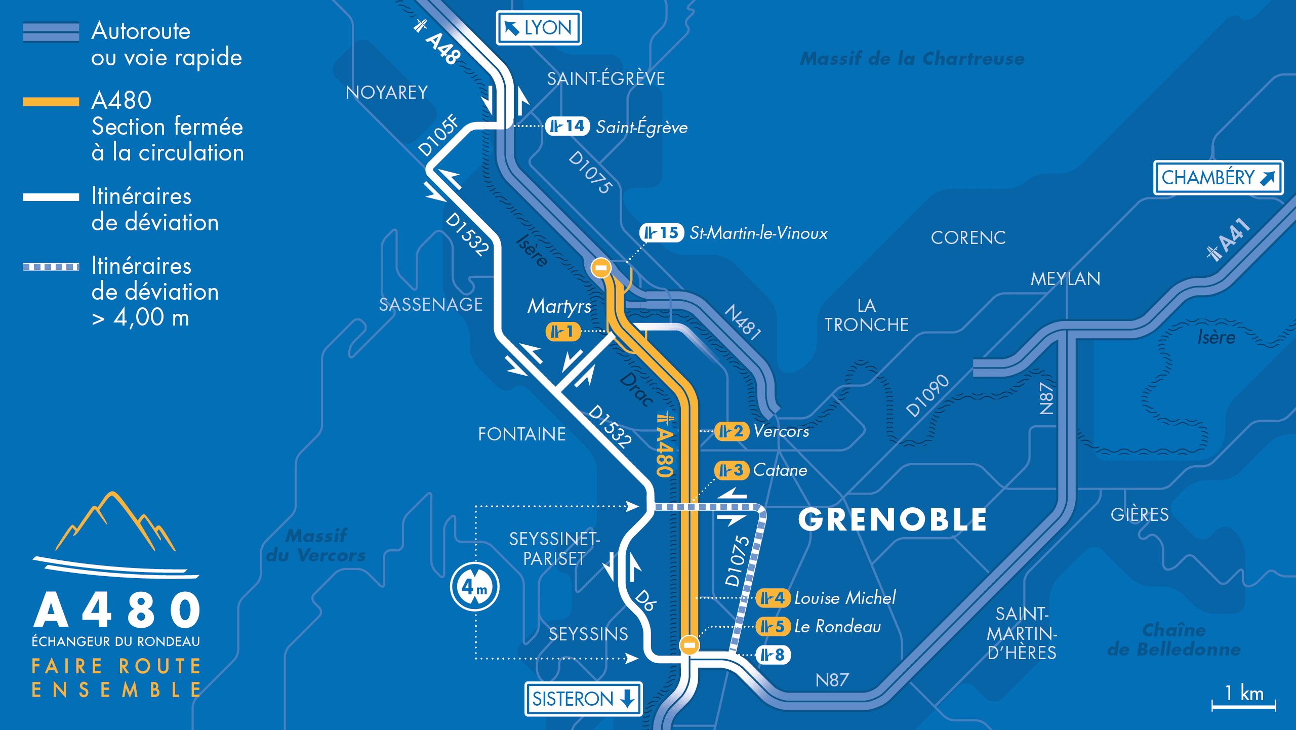 carte des travaux sur l'A480 du 20 au 23 janvier 2020