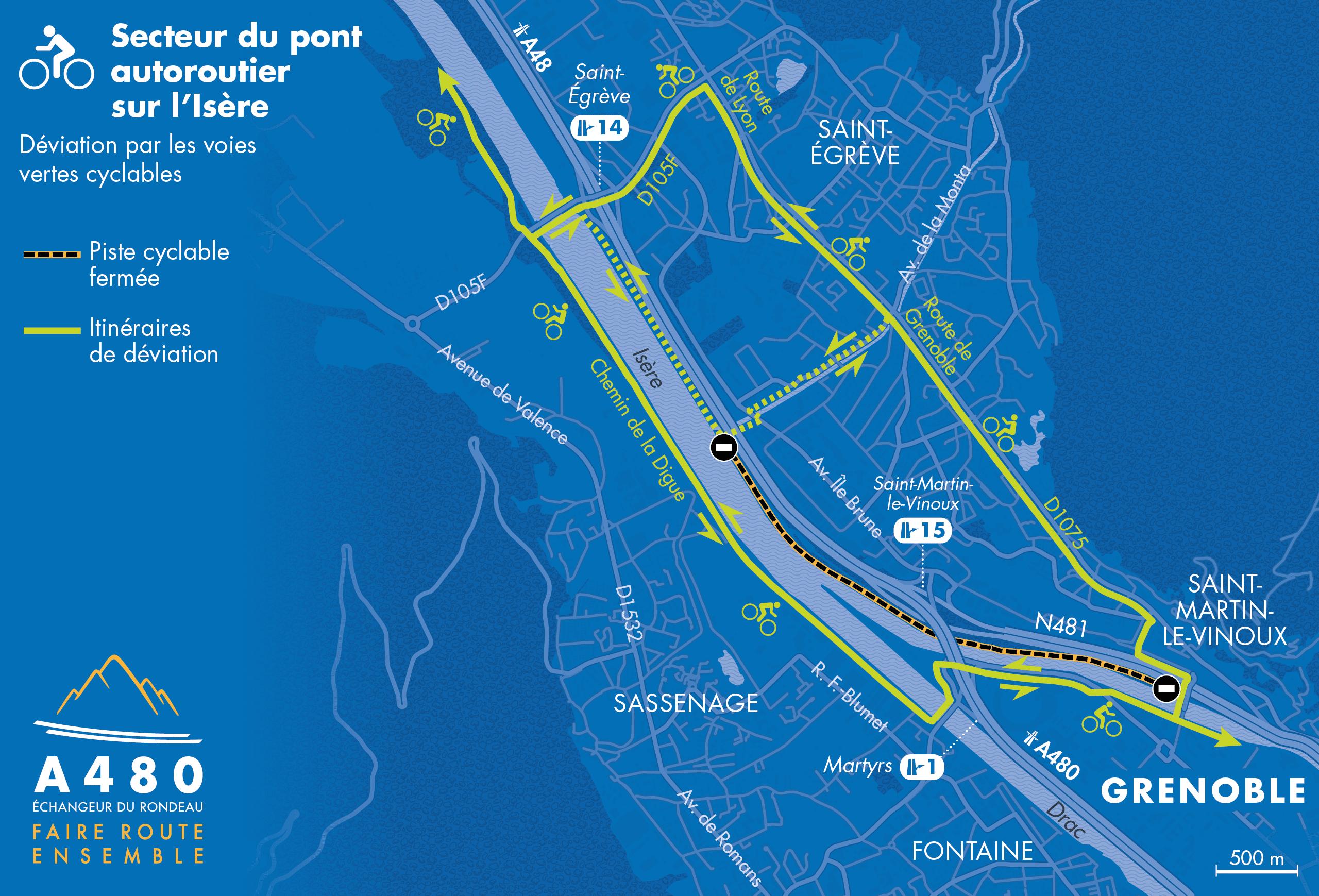 travaux de juin 2019 à mai 2020 du le pont autoroutier sur l'Isère