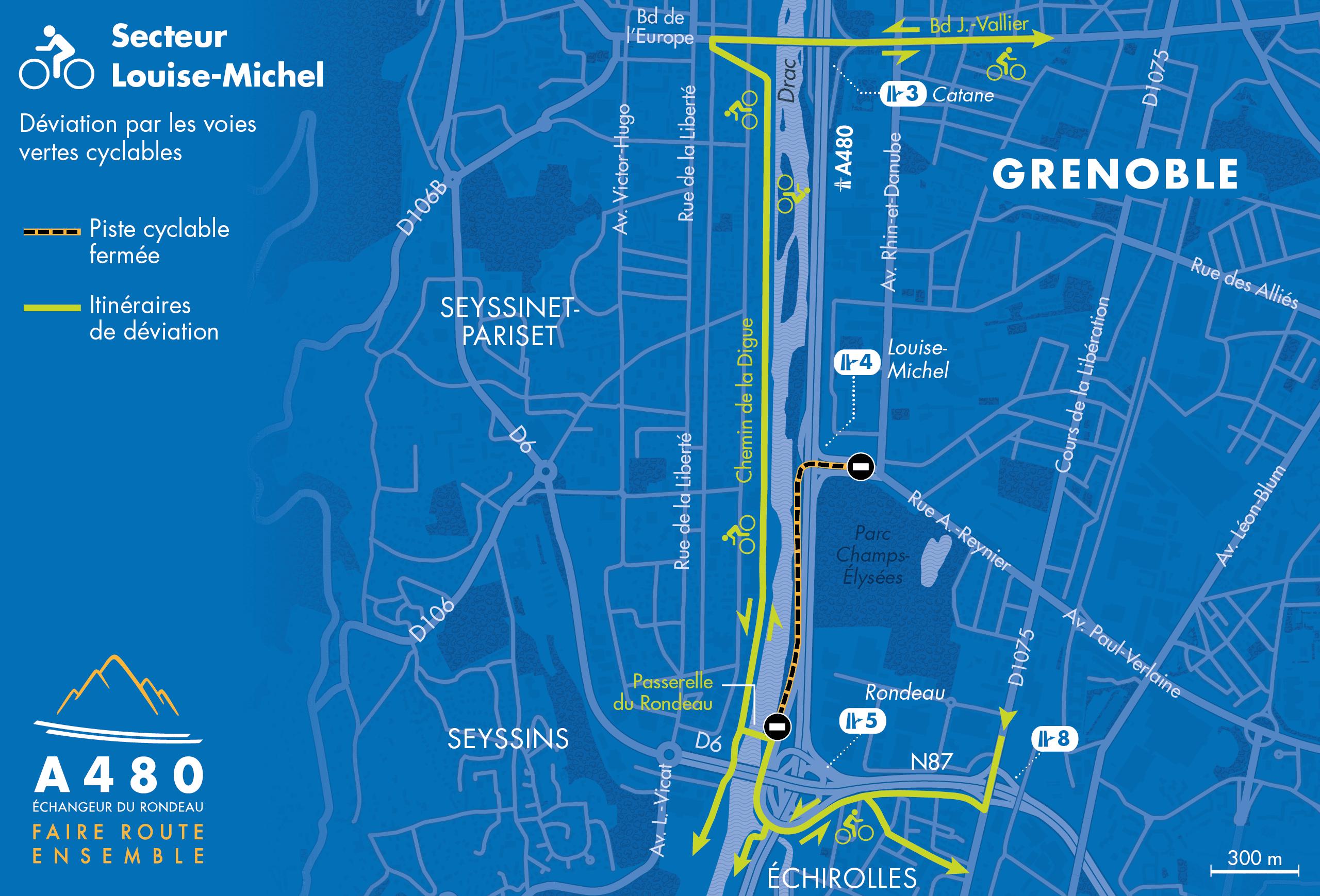 déviation par les voies cyclables de septembre 2019 à février 2020