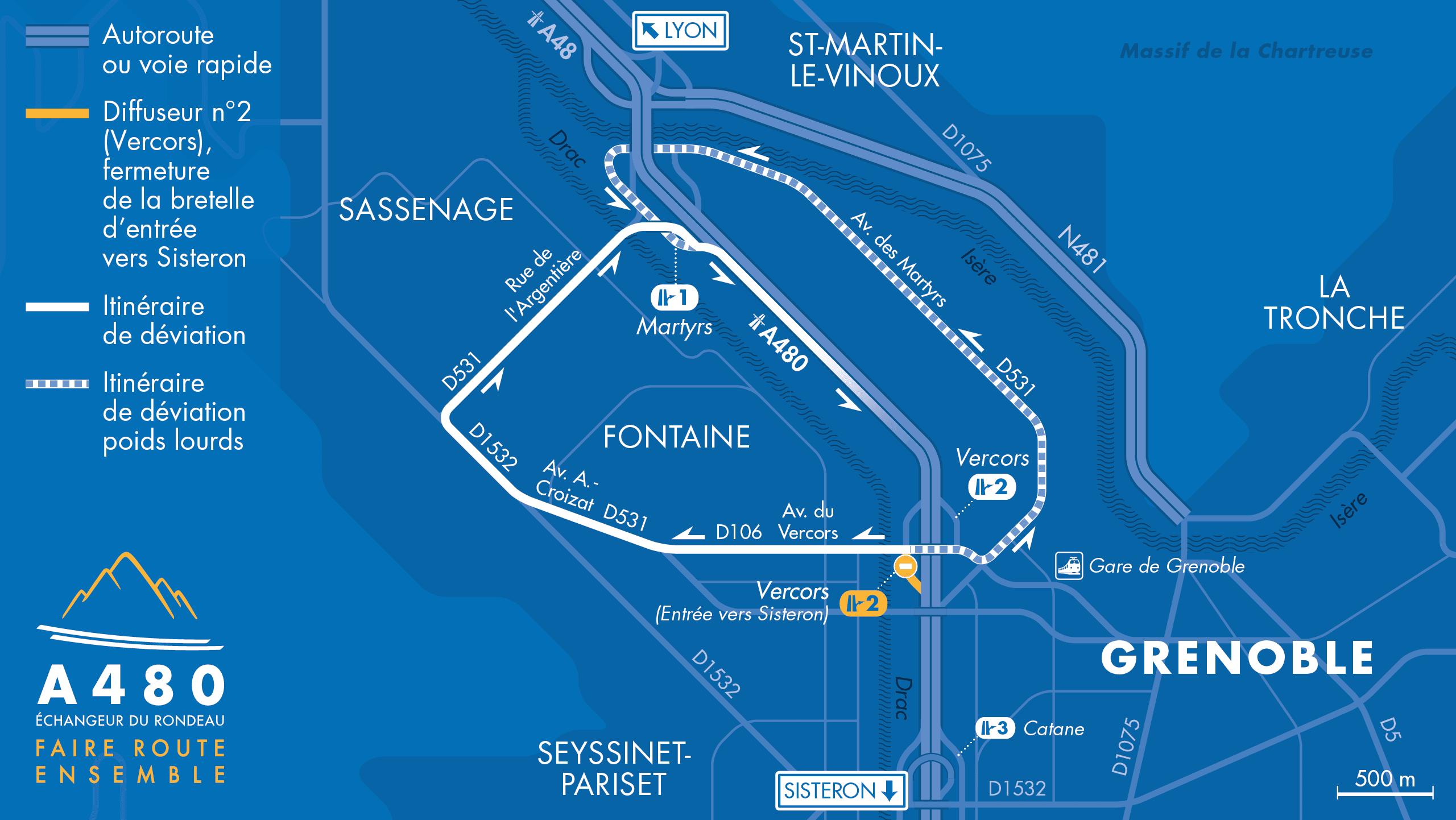 itinéraire de déviation dans le secteur Vercors du 13 janvier au 18 mai 2020