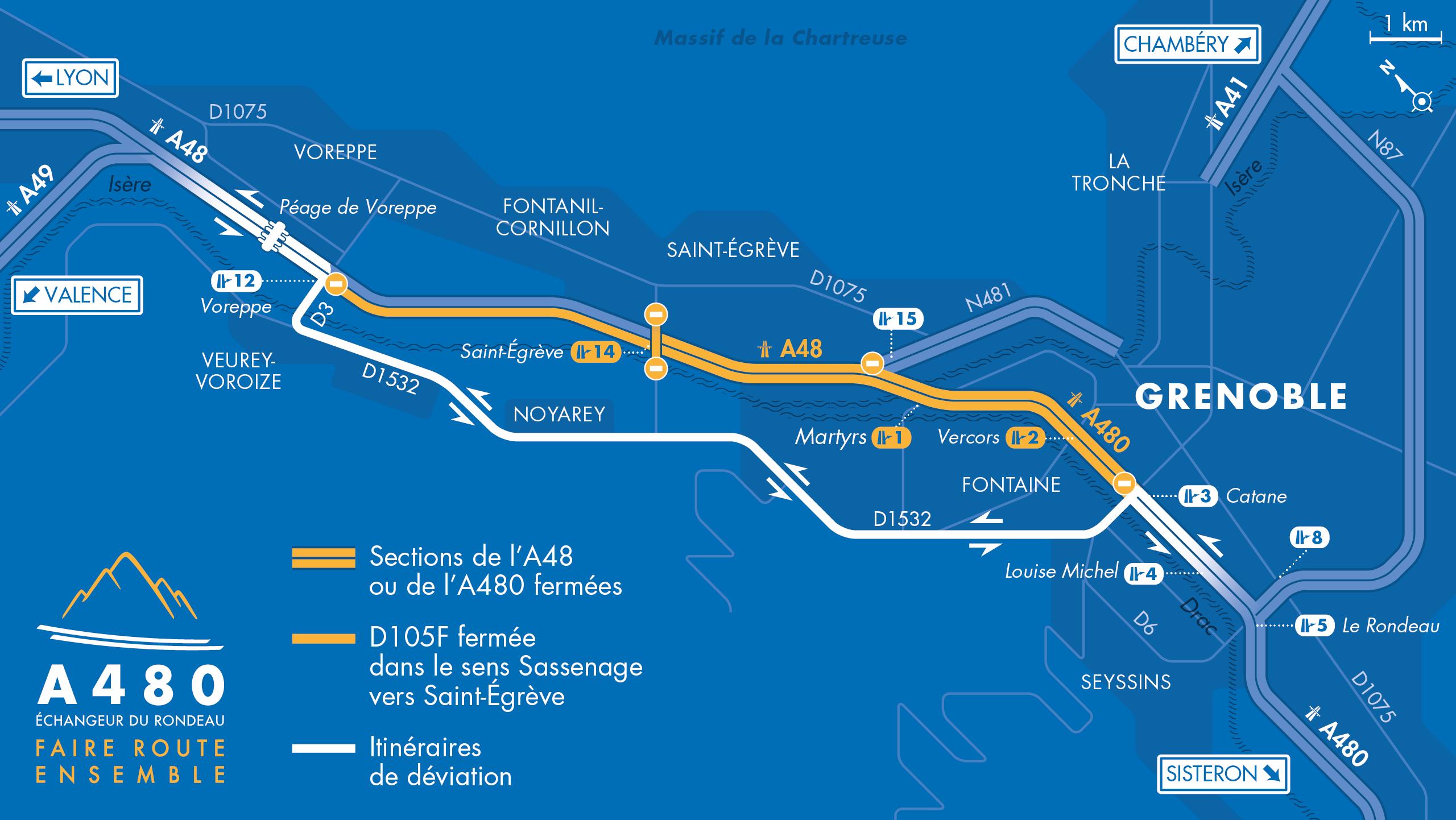 Carte des déviations sur l'autoroute A480 entre le diffuseur Voreppe et le diffuseur Catane sur Grenoble