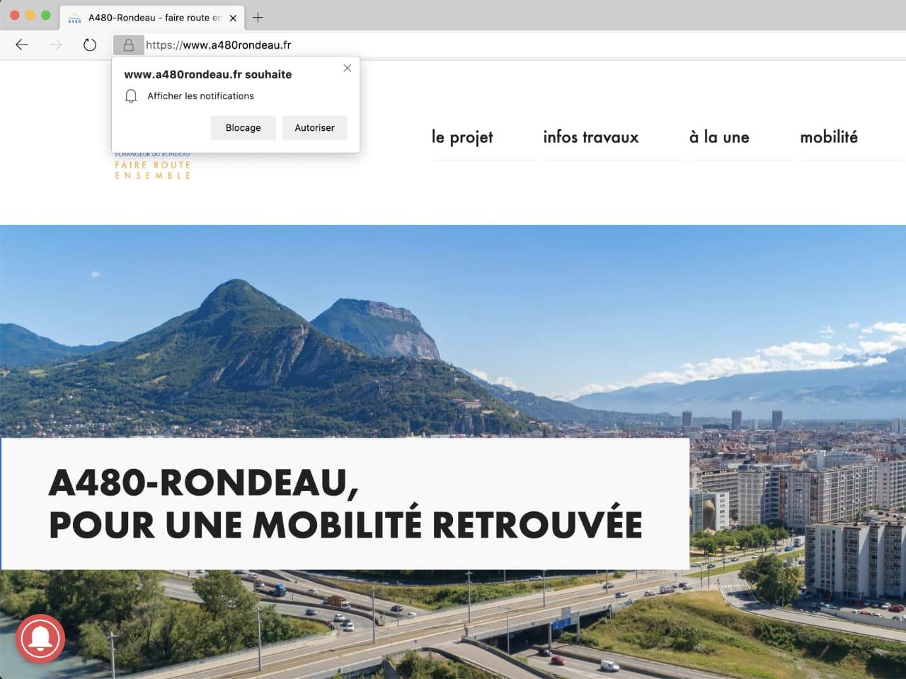 image d'un navigateur Internet demandant l'activation des notifications 'push'