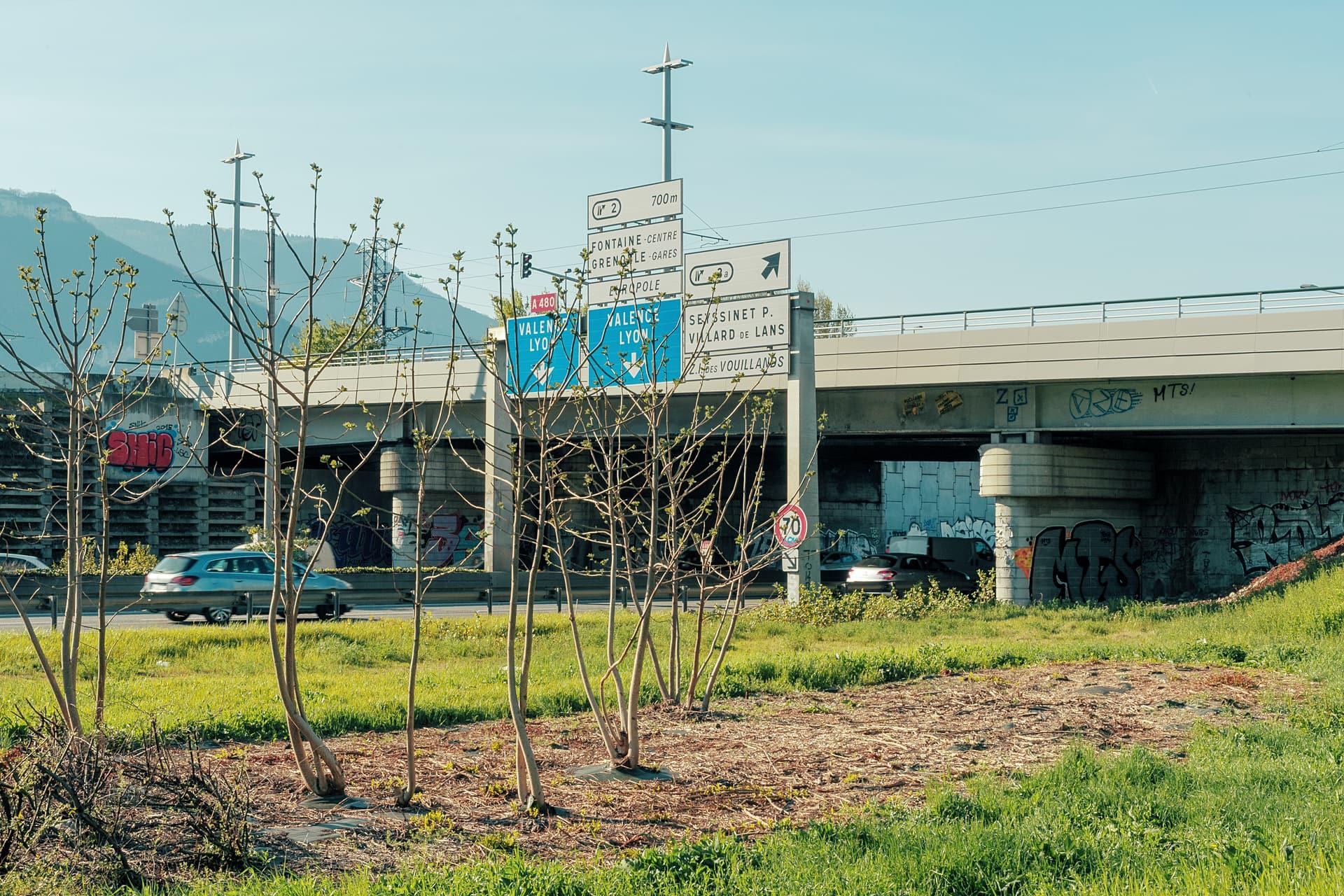 photographie du pont de Catane à Grenoble depuis l'autoroute A480