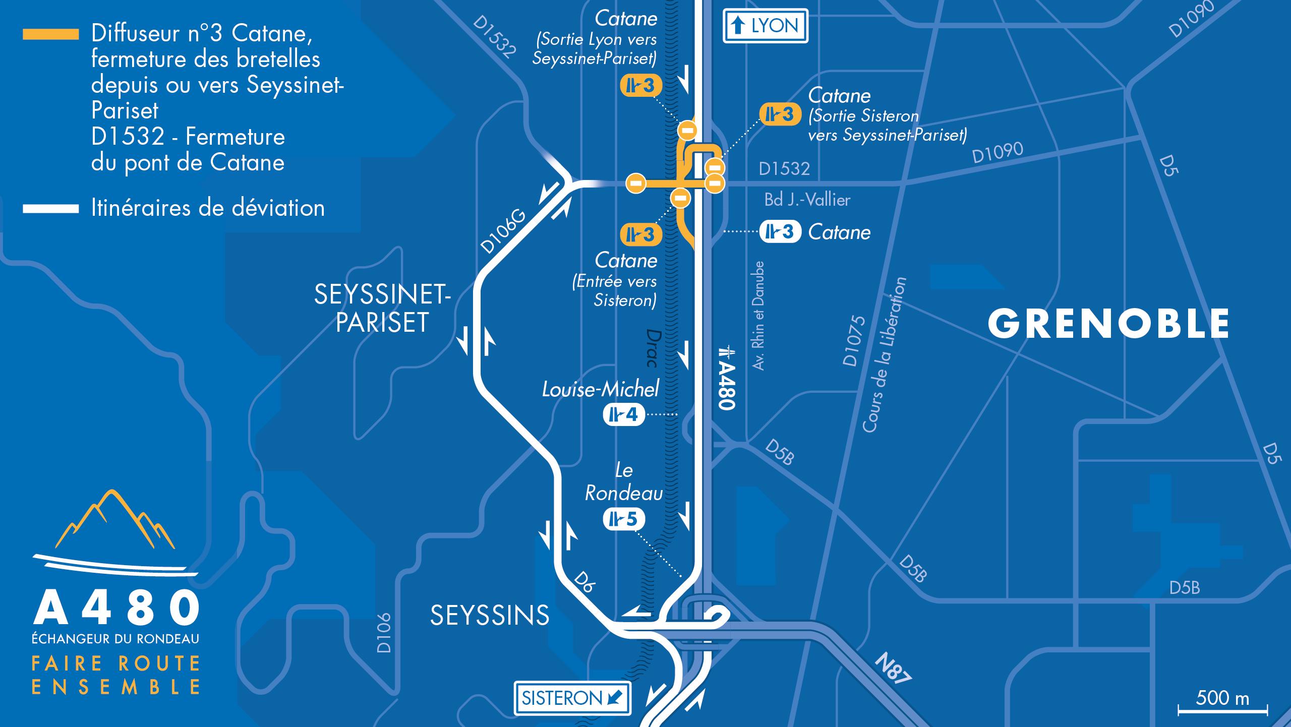 carte des déviations suite à la fermeture la bretelle d'entrée vers Sisteron en venant de Seyssinet-Pariset.
