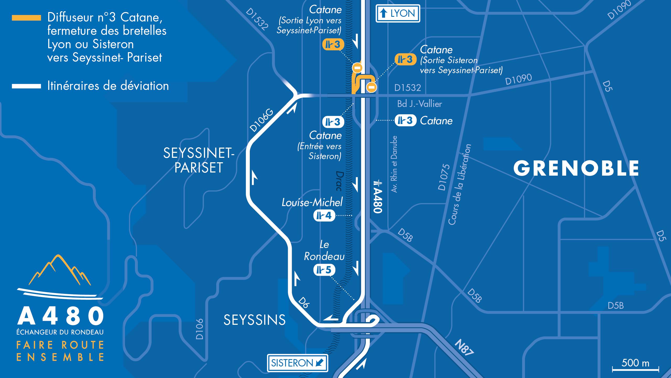 carte des déviations suite à la fermeture des bretelles de sortie vers Seyssinet-Pariset en venant de Lyon et en venant de Sisteron.