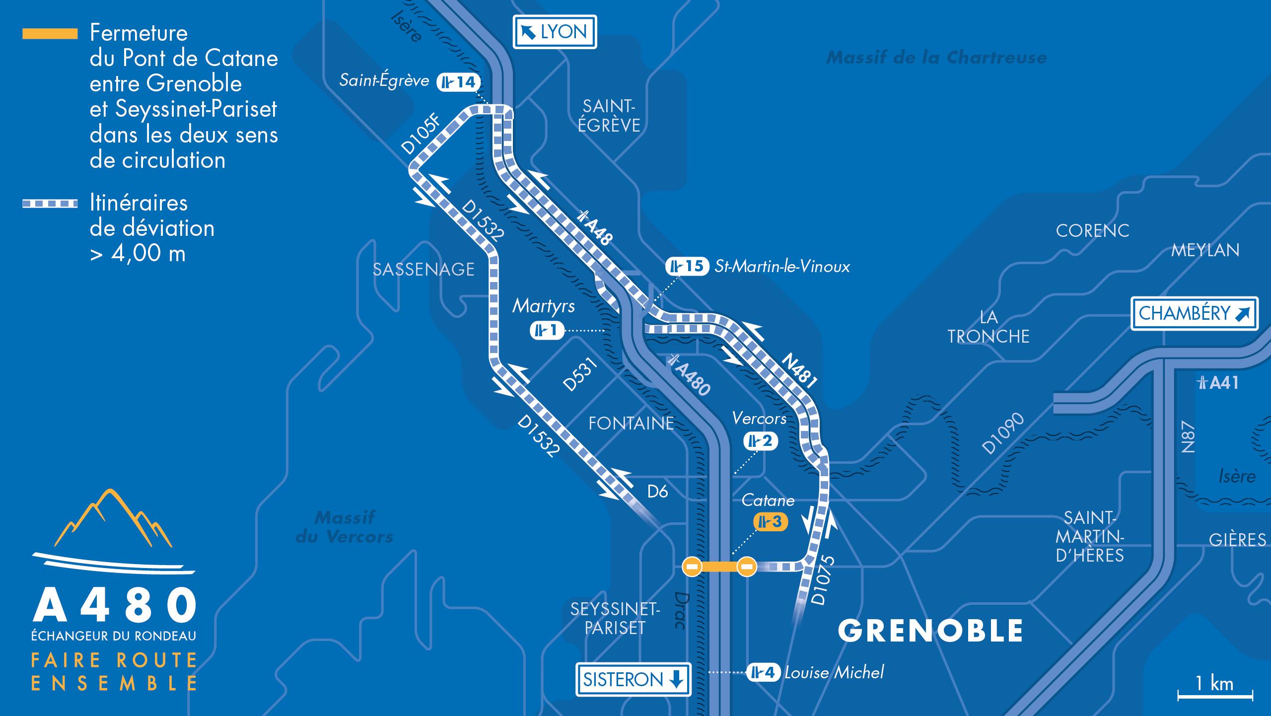carte des déviations pour les poids lourds entre Grenoble et Seyssinet-Pariset