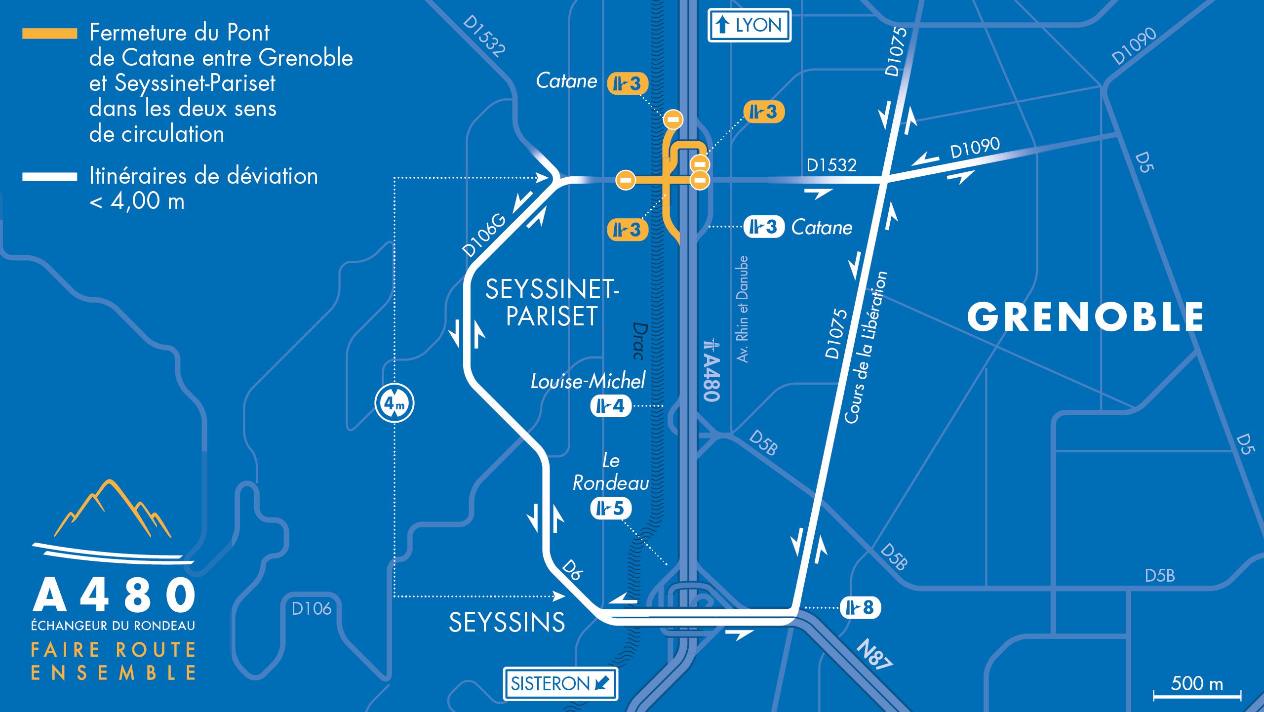 carte des déviations pour les véhicules légers entre Grenoble et Seyssinet-Pariset