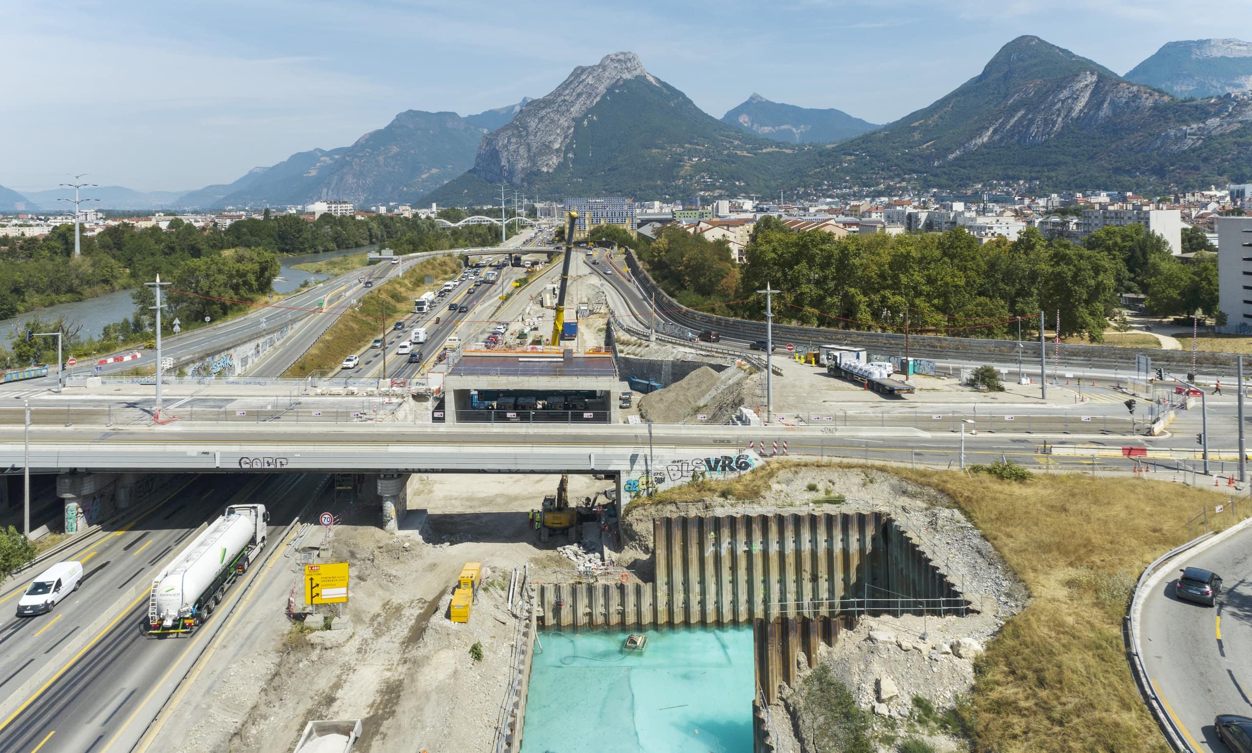 Bassin de rétention et nouveau tablier du pont de Catane à Grenoble