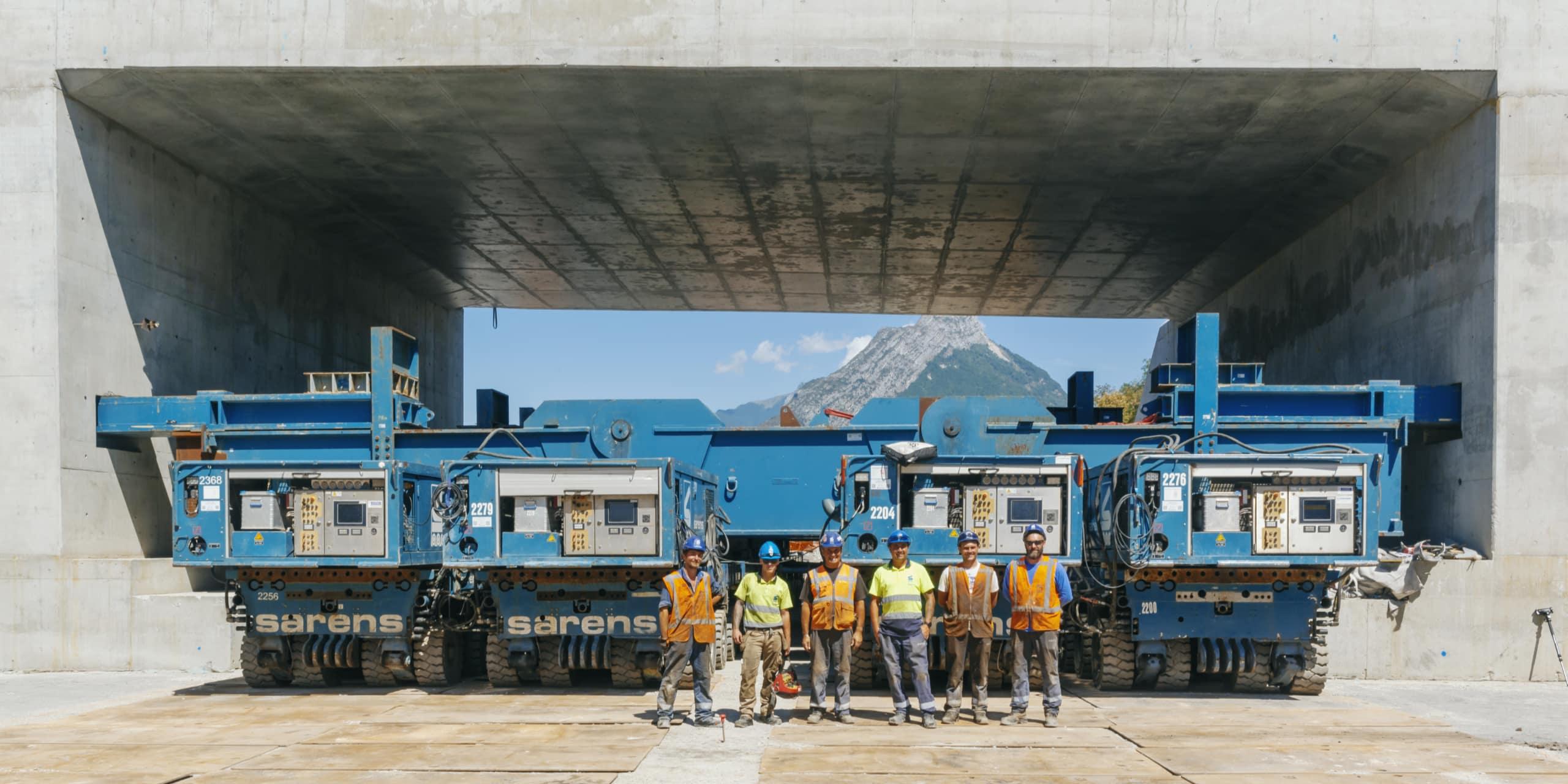 l'équipe de techniciens ayant effectué le ripage du pont de Catane à Grenoble