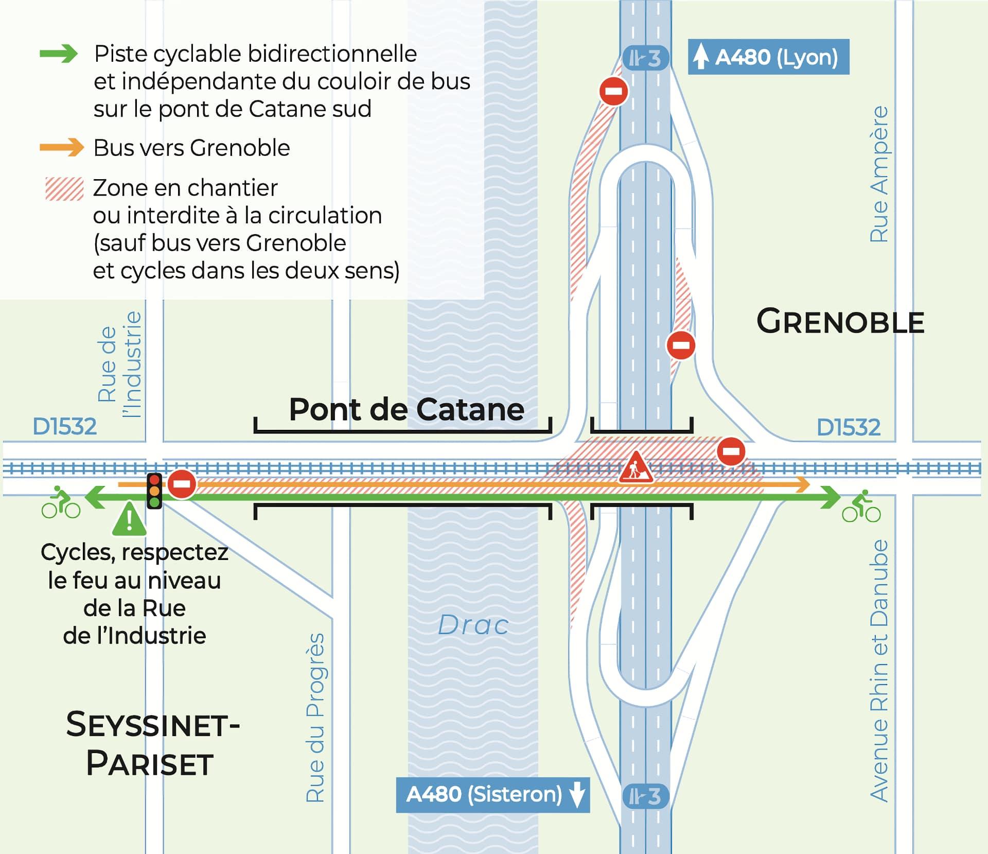 Plan de circulation à vélo sur le pont de Catane à Grenoble