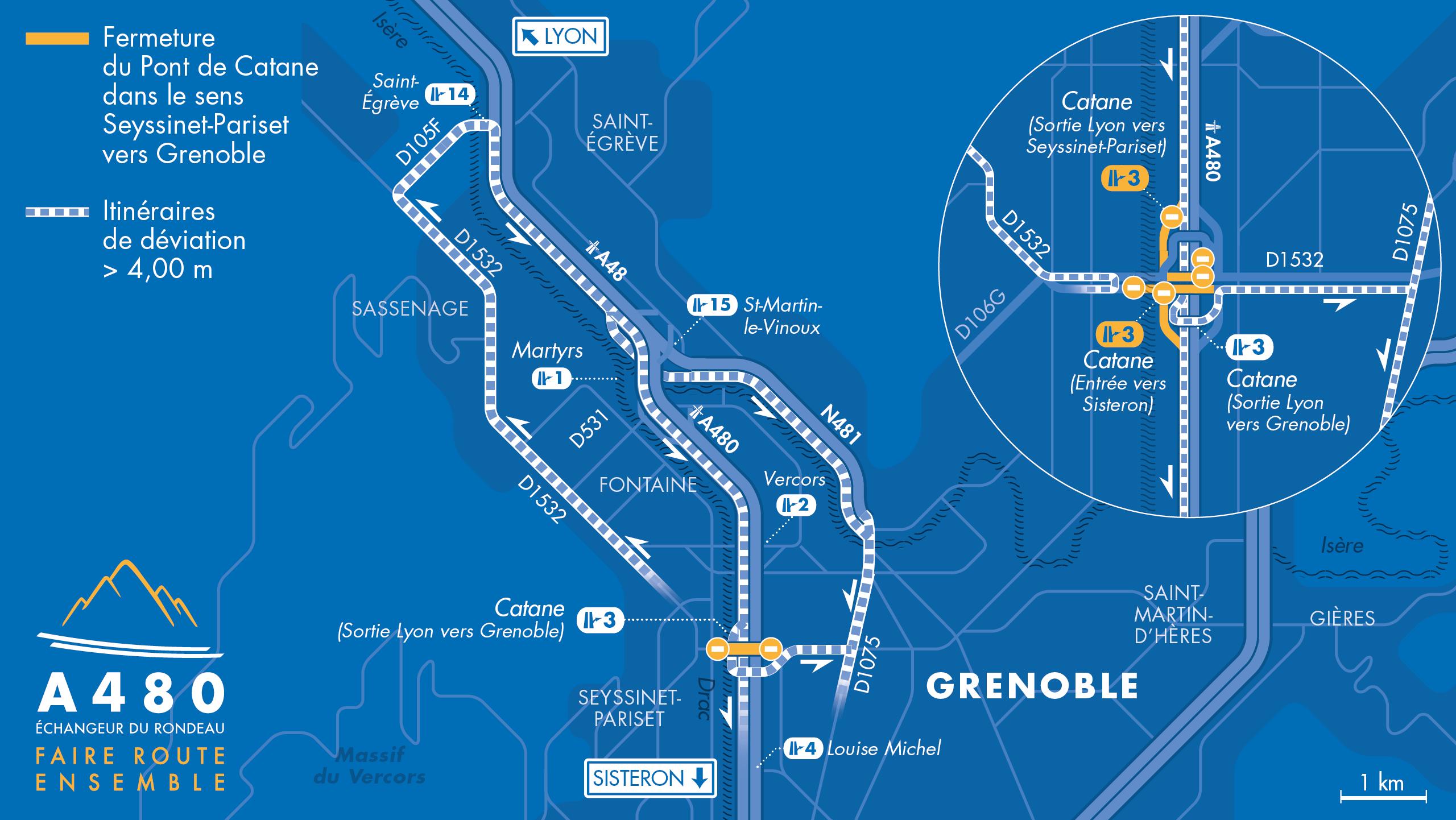carte des déviations pour les poids lourds de Seyssinet-Pariset vers Grenoble