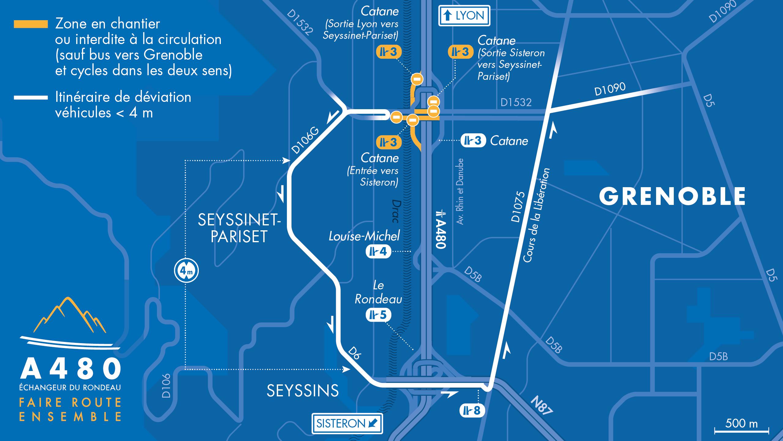 carte des déviations pour les véhicules légers depuis Seyssinet-Pariset vers Grenoble