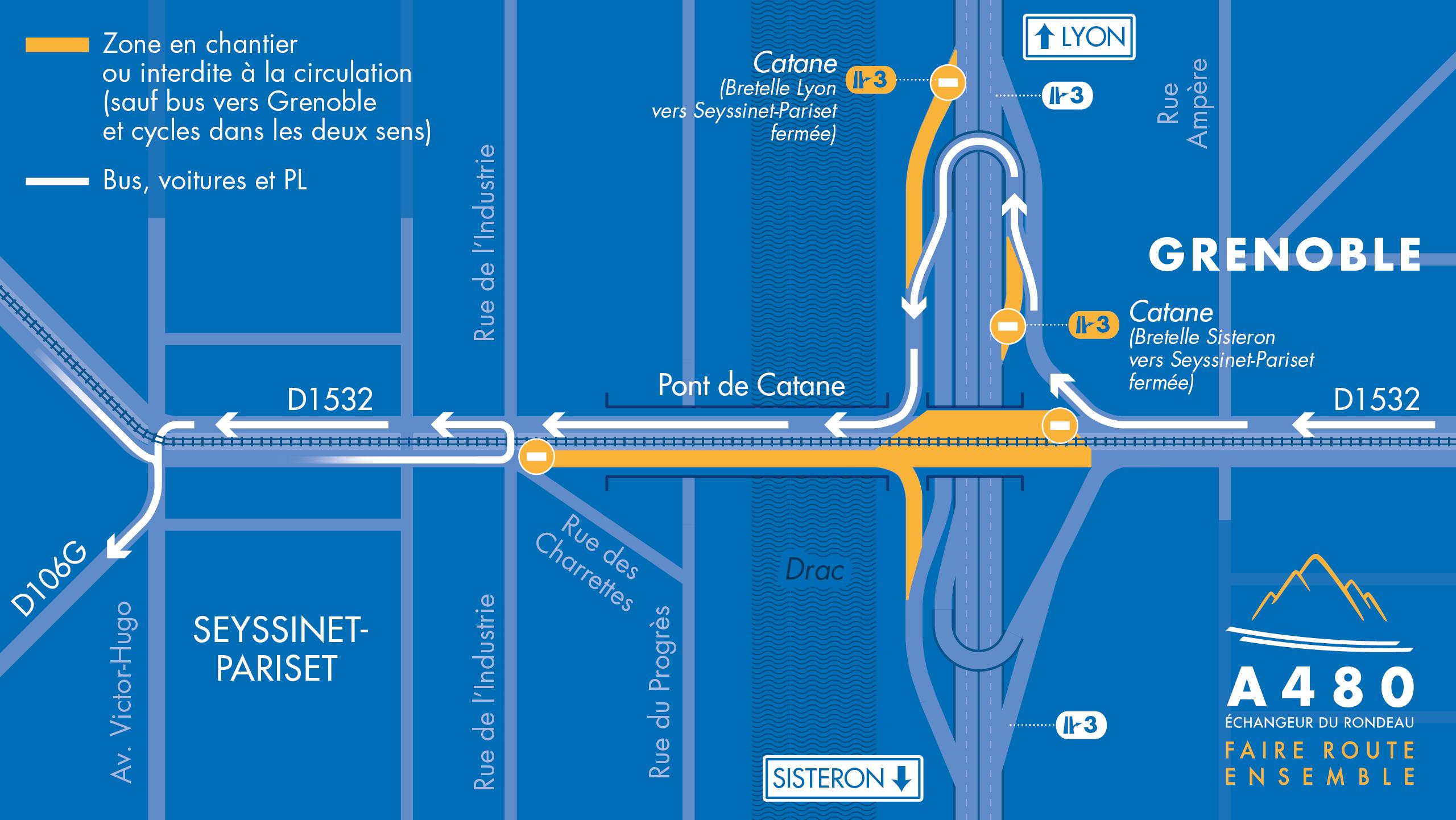 carte des déviations pour les véhicules légers depuis Grenoble vers Seyssinet-Pariset, à partir du 1er septembre