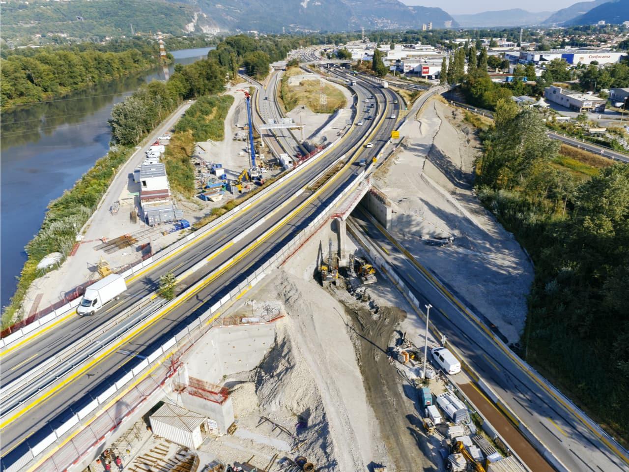 travaux sur l'A480 en direction de Grenoble et Sisteron au niveau du diffuseur Saint-Martin-le-Vinoux (n°15)
