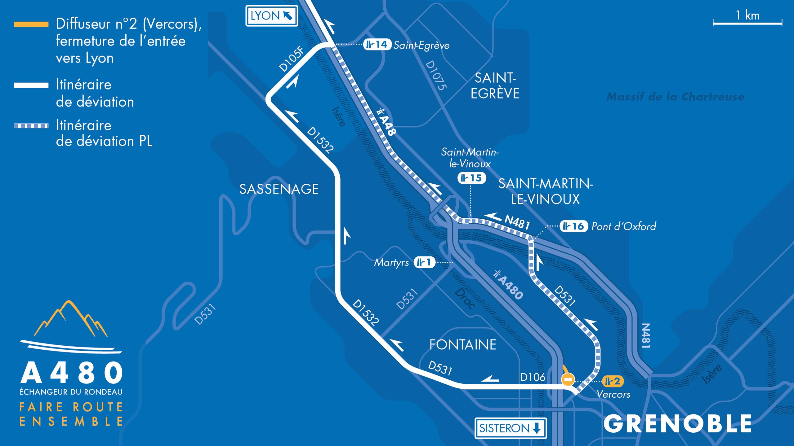 Carte des déviations suite à la fermeture de la bretelle d'entrée du diffuseur de Vercors en direction de Lyon