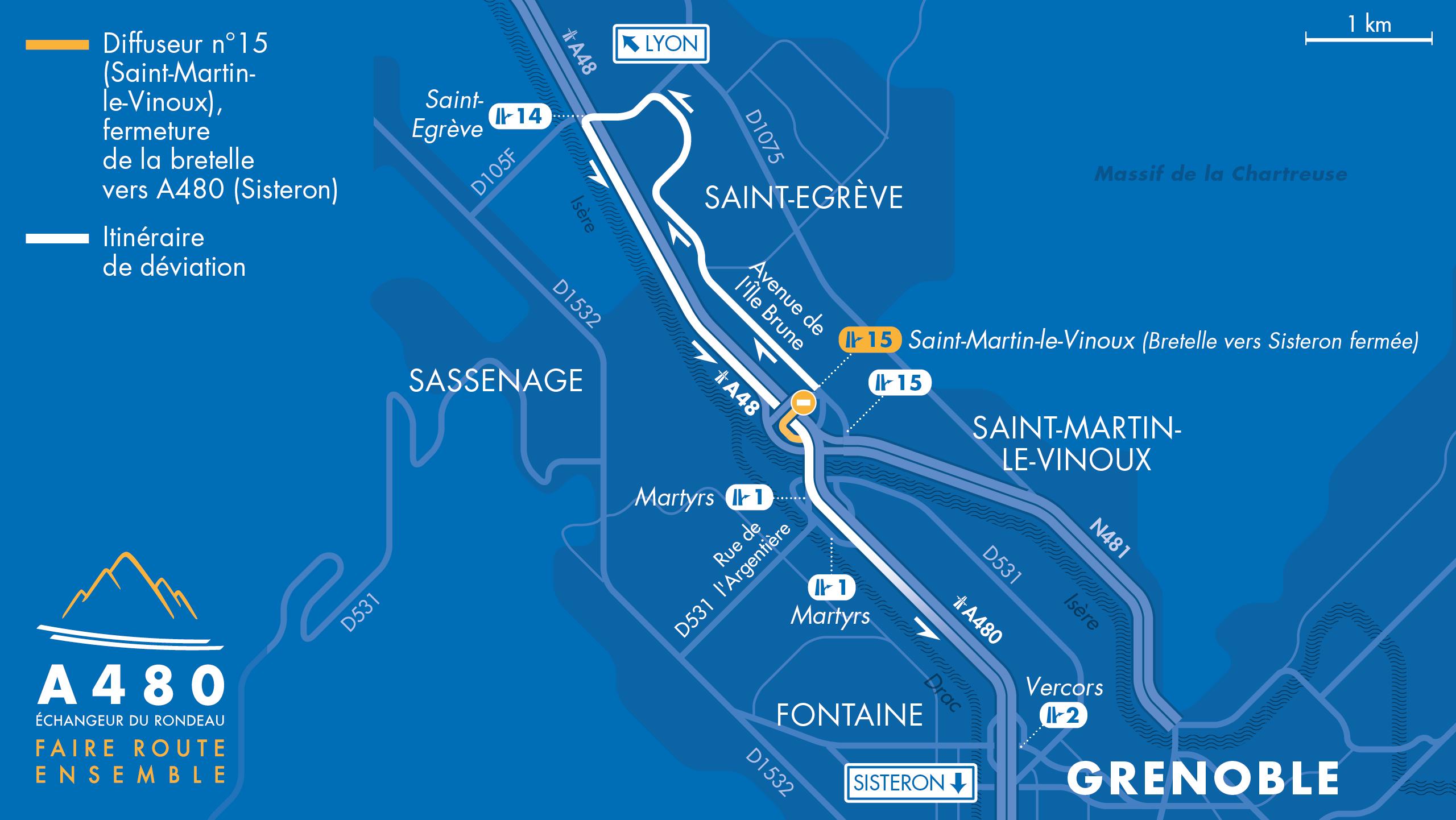 Carte des travaux sur l'A480 en direction de Grenoble et Sisteron au niveau du diffuseur Saint-Martin-le-Vinoux (n°15)