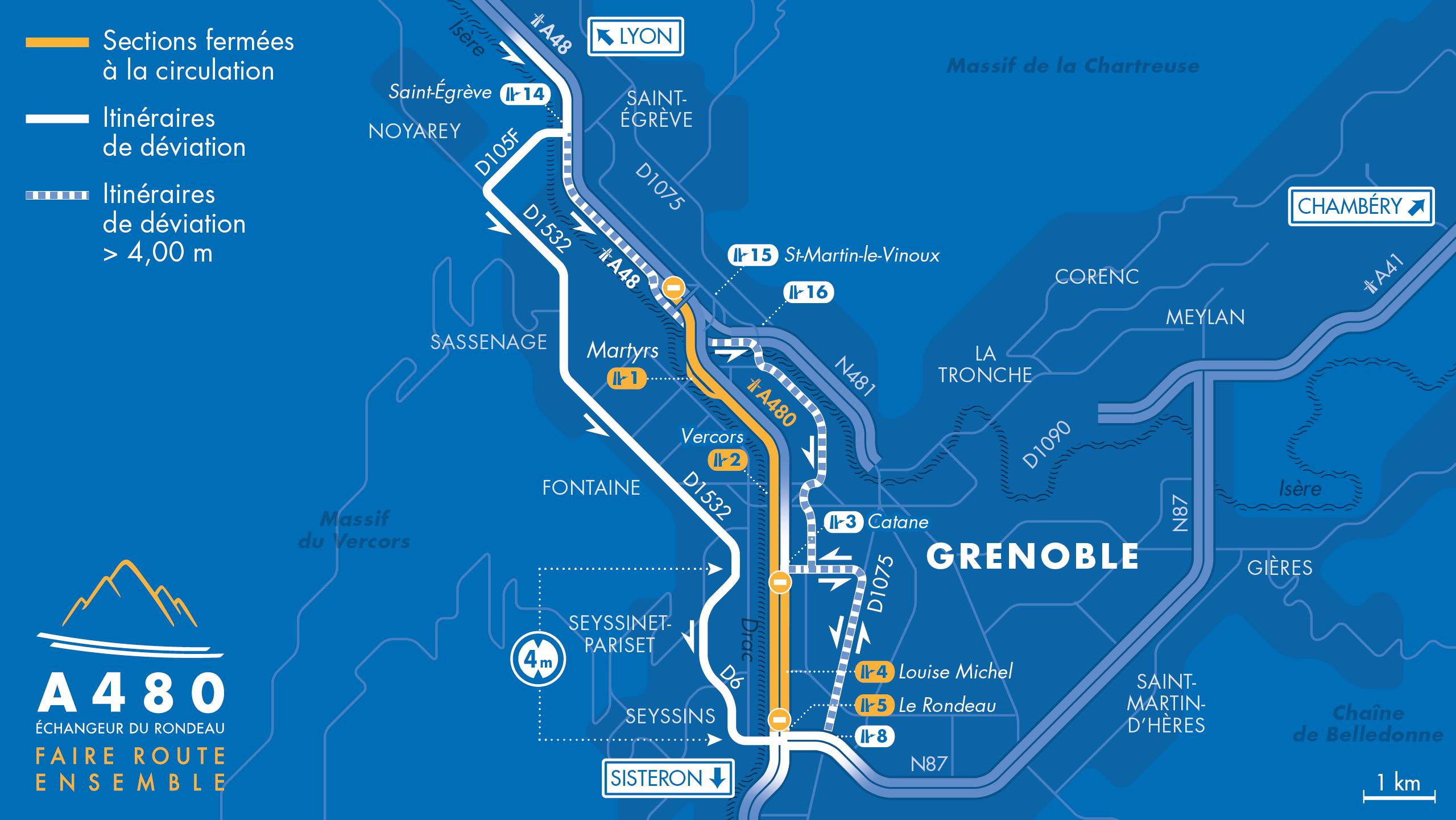 Carte des fermetures de l'autoroute A480 et A48 pour les secteur Catane, Rondeau ainsi que la bifurcation A48/A480/N481 durant le mois de septembre