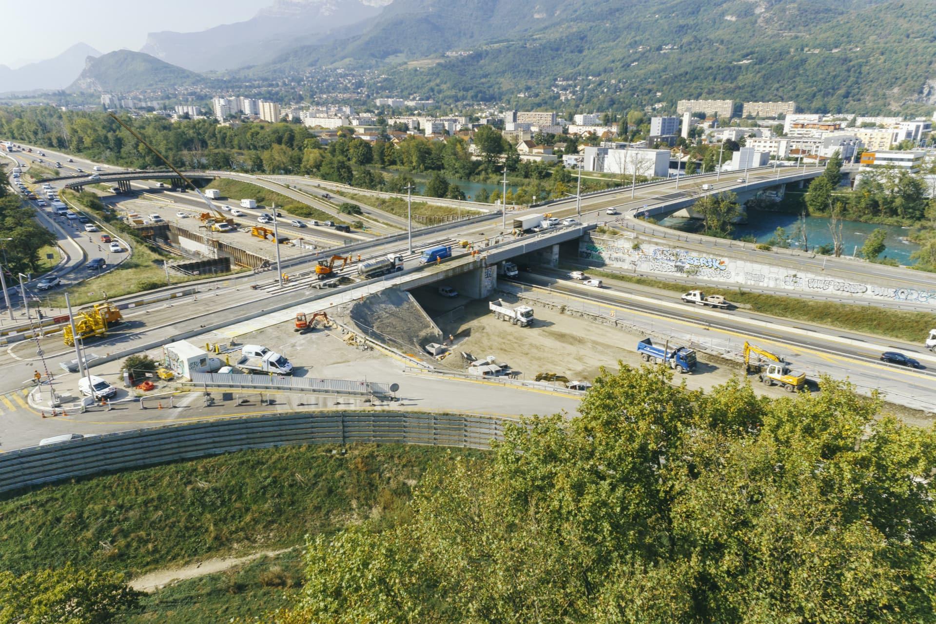 échangeur de Catane à Grenoble dans le cadre des travaux d'aménagements de l'autoroute A480