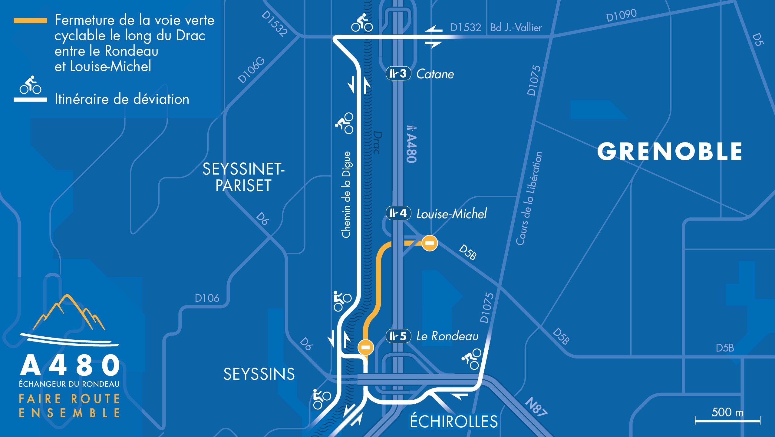 Carte de déviation pour la piste cyclable entre Louise Michel et le Rondeau à Grenoble