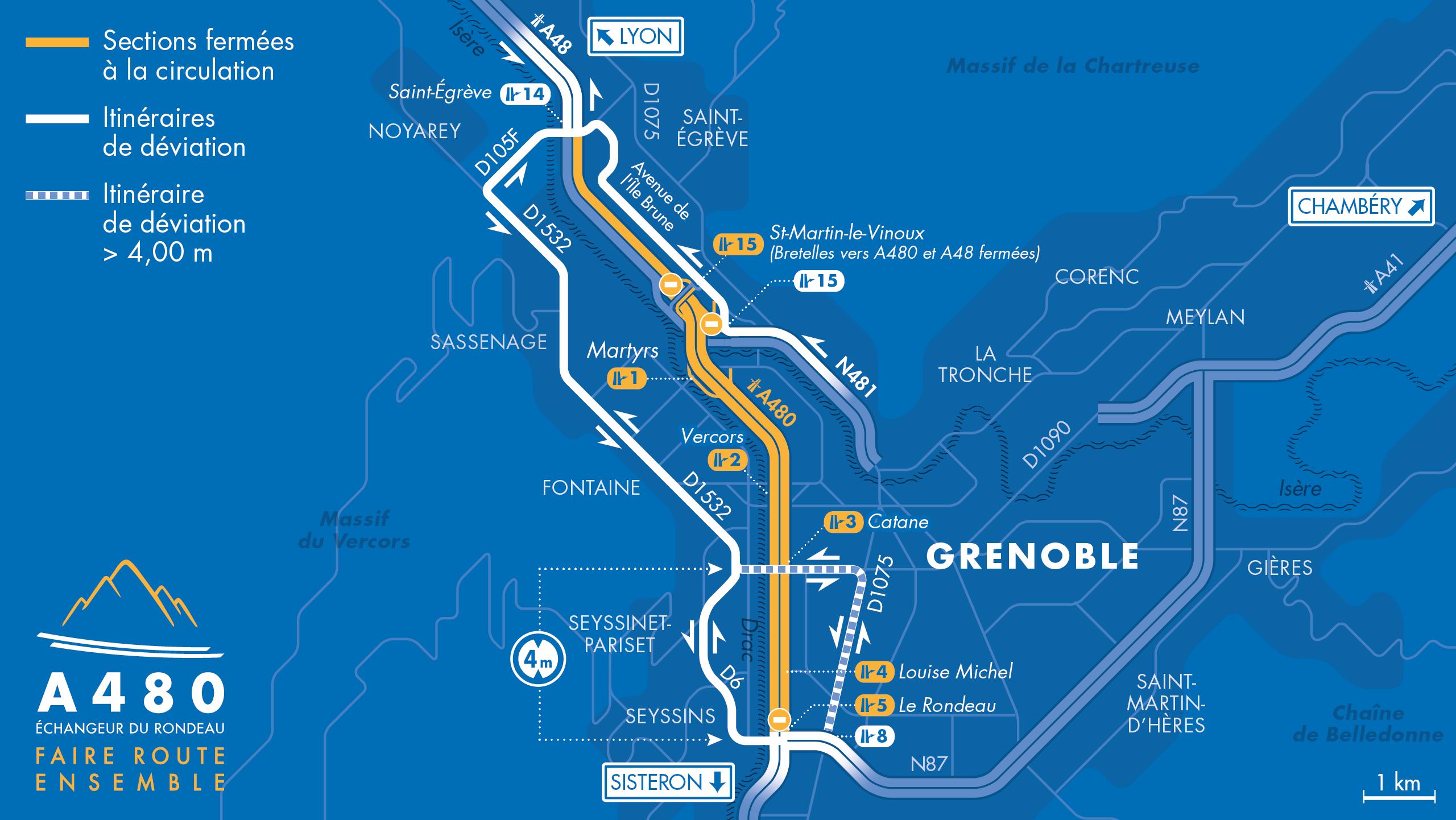Carte de déviation entre la bifurcation A48/A480/RN481, le diffuseur du Rondeau (n°5) et le diffuseur de Saint-Égrève à Grenoble
