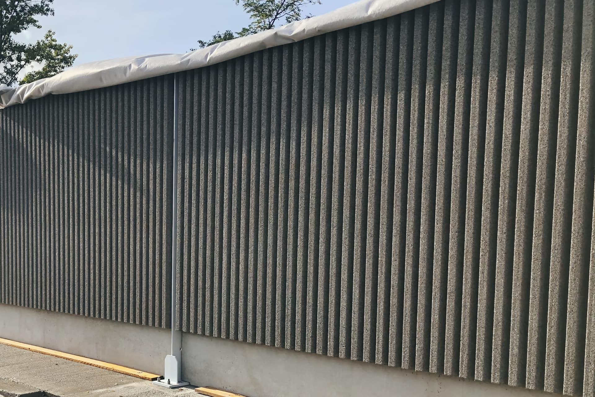 exemple de mur acoustique béton-bois sur l'A480