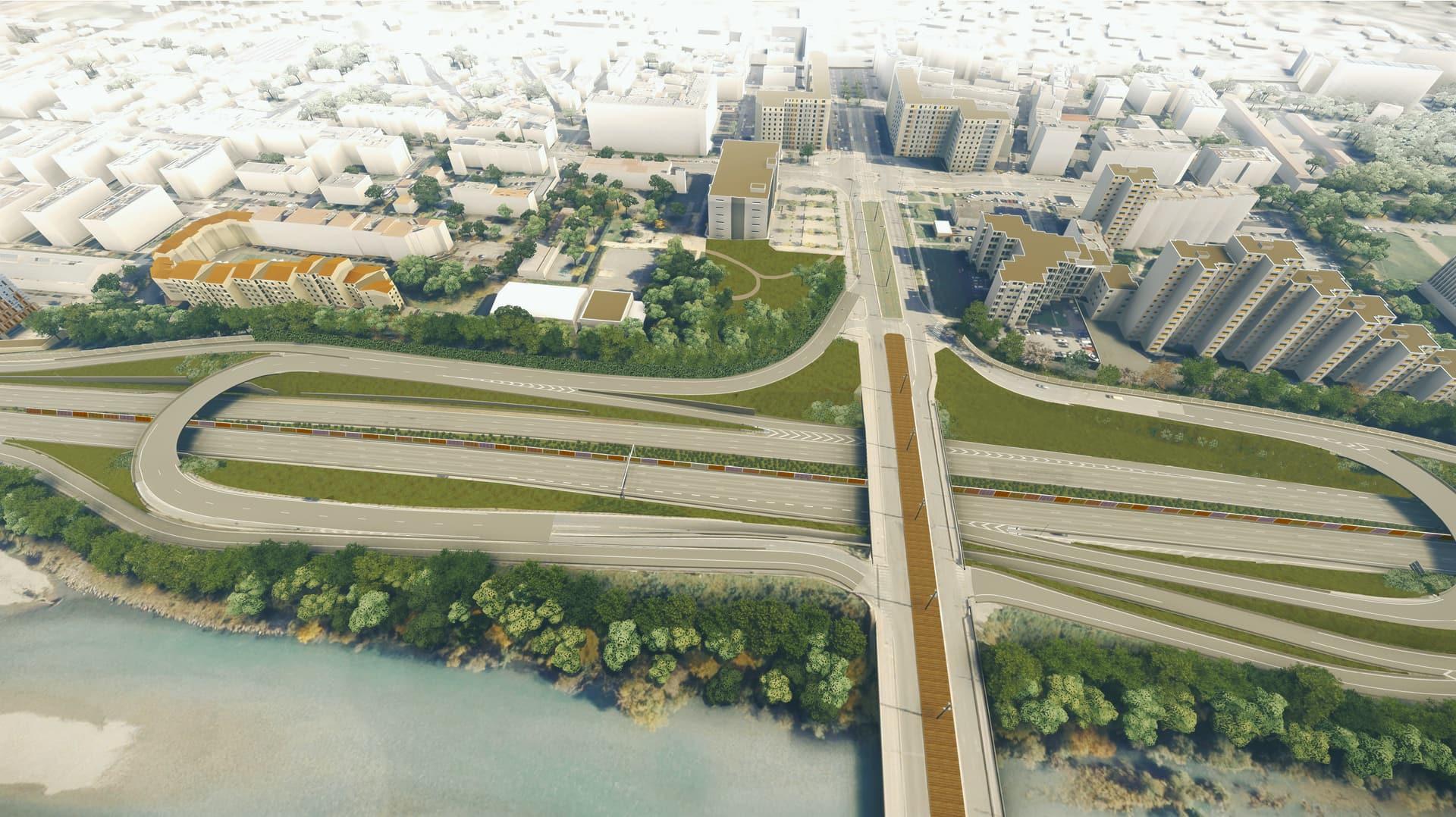 rendu 3D du diffuseur n°3 et du pont de Catane à l'issus des aménagements de l'A480 à Grenoble