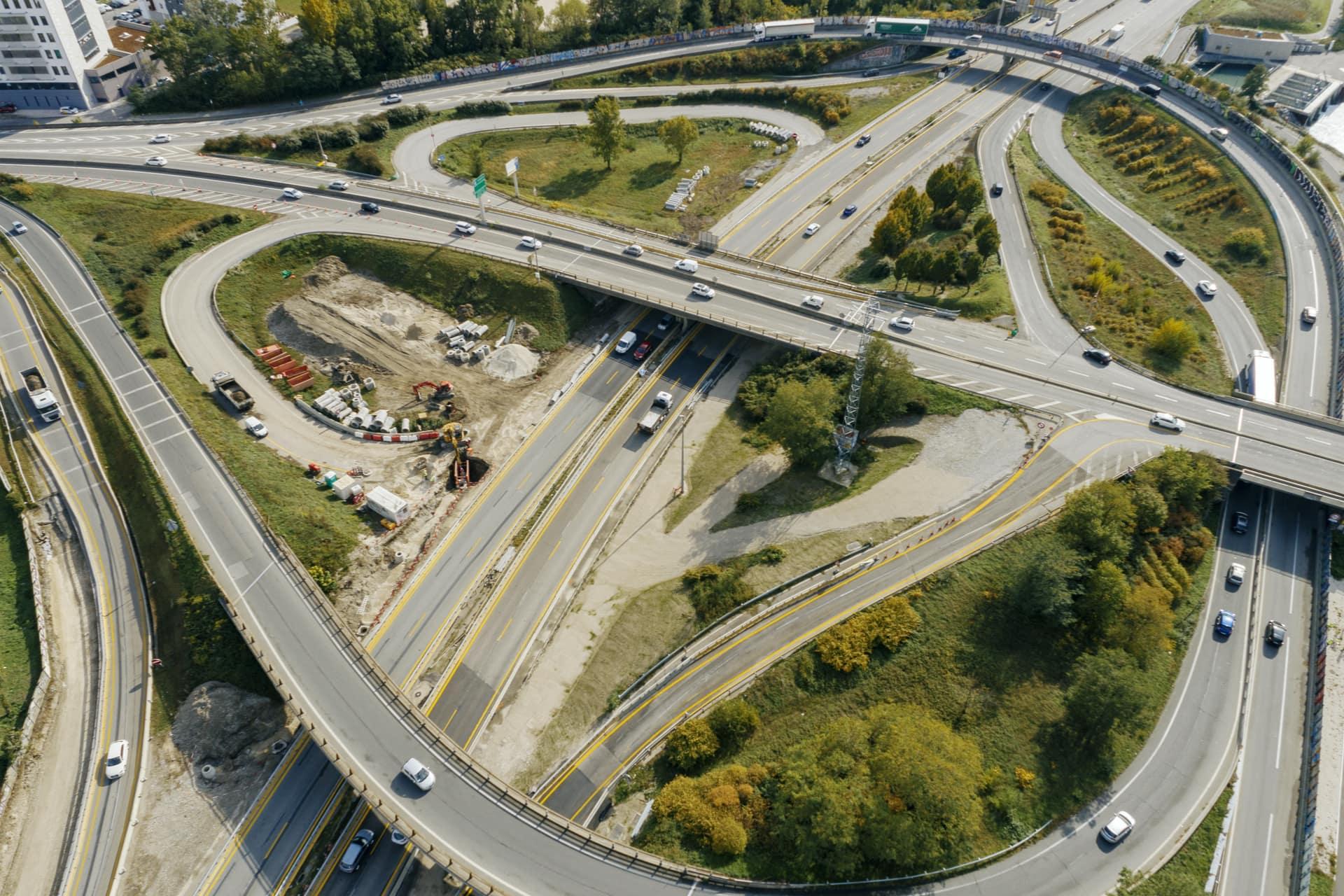 échangeur de Seyssins sur l'autoroute A480 à Grenoble