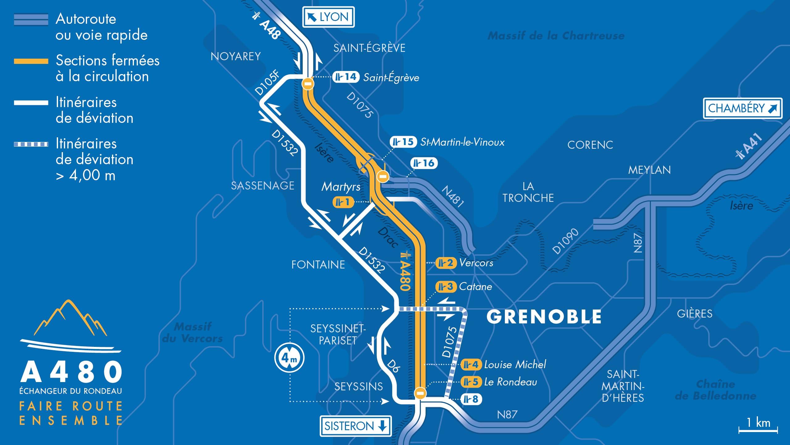 Carte des déviations entre le diffuseur du Rondeau (n°5) et le diffuseur de Saint-Egrève (n°14) suite aux fermetures nocturnes de l'A480 à Grenoble