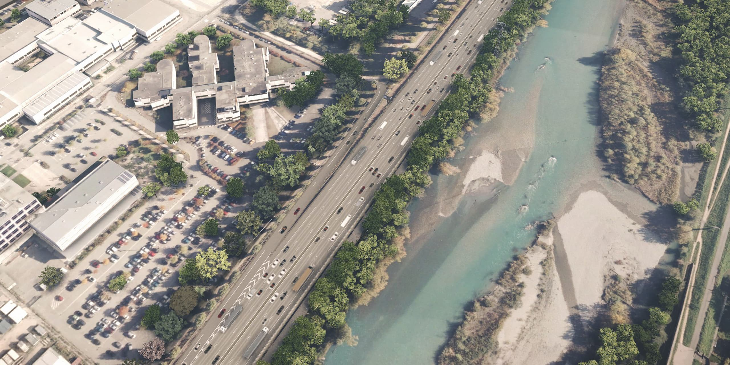 visualisation 3D de la nouvelle bretelle Horowitz sur l'A480 à Grenoble