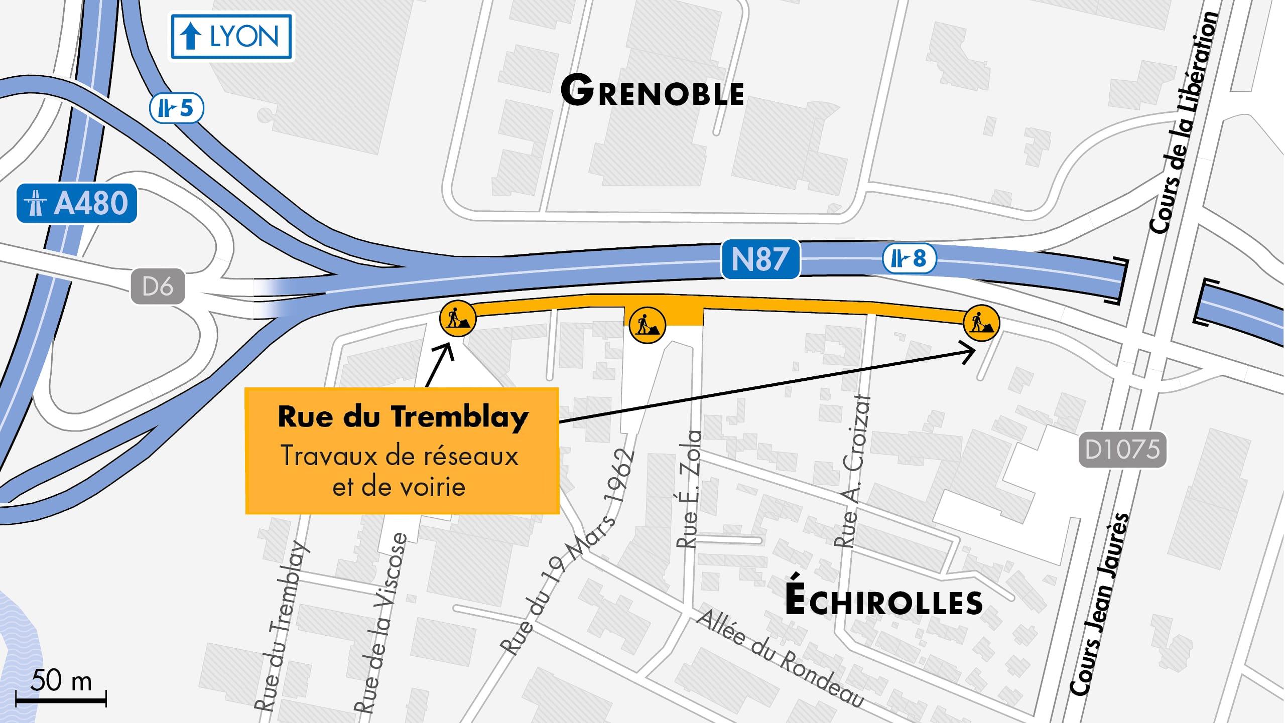 Carte des travaux préparatoires pour l'échangeur du Rondeau à Échirolles, dans le bassin grenoblois