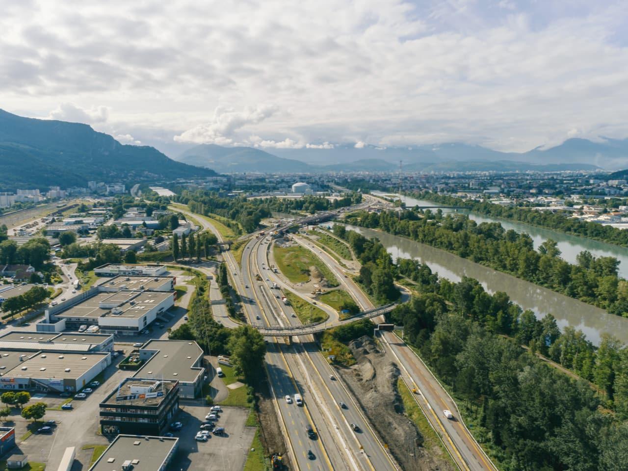 autoroute A480 durant les travaux de réaménagement de cet axe autoroutier urbain
