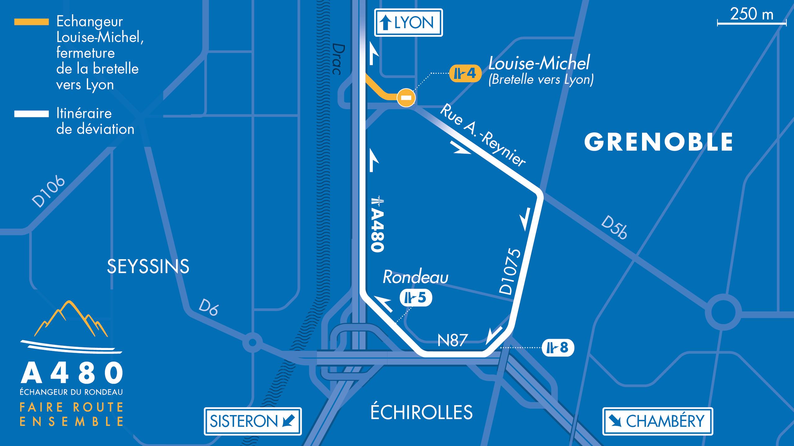 Carte de déviation suite à la fermeture de la bretelle d'entrée Louise Michel / Bachelard sur l'A480 à Grenoble