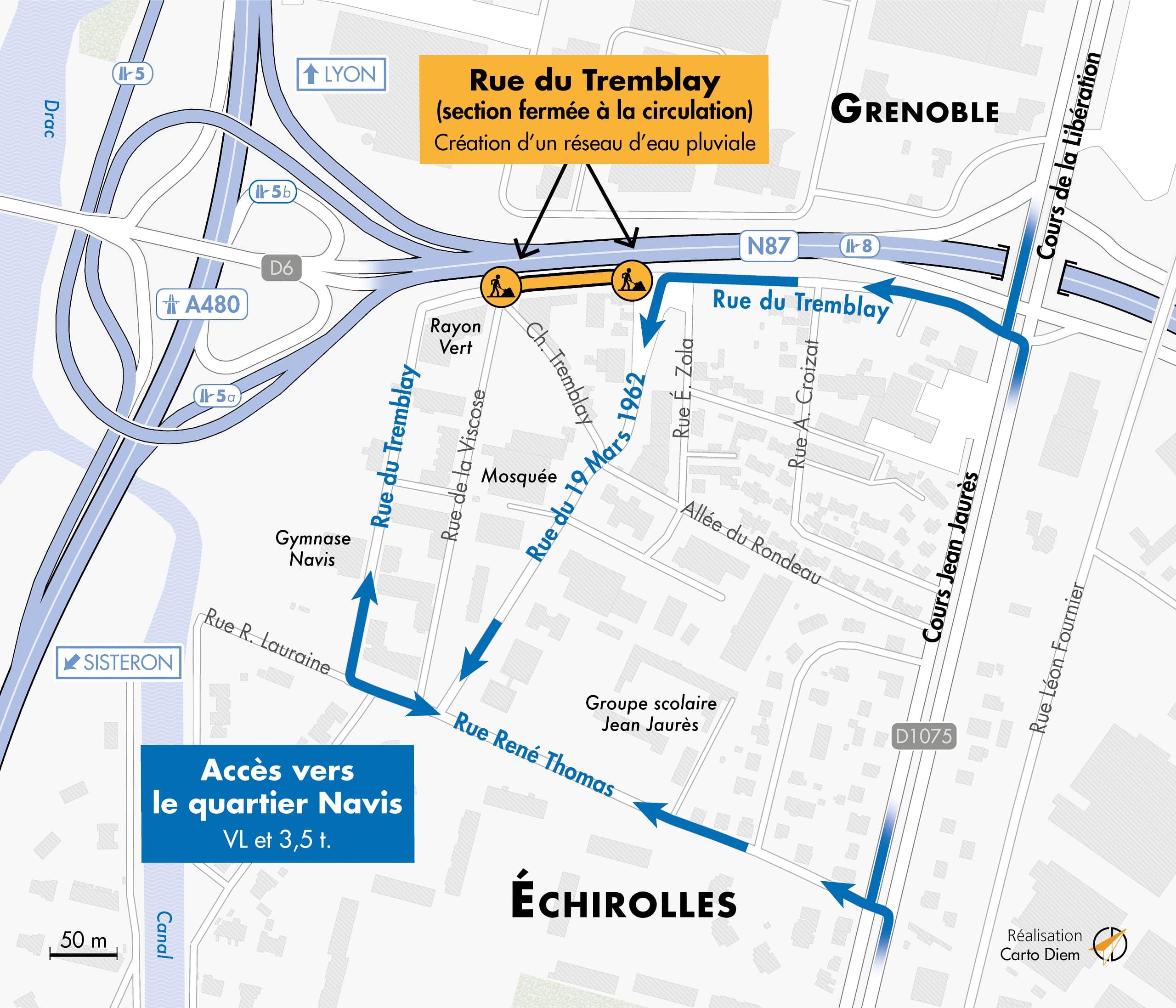 carte des déviations sur l'échangeurs du Rondeau entre le 8 février et le 15 avril 2021 à Grenoble