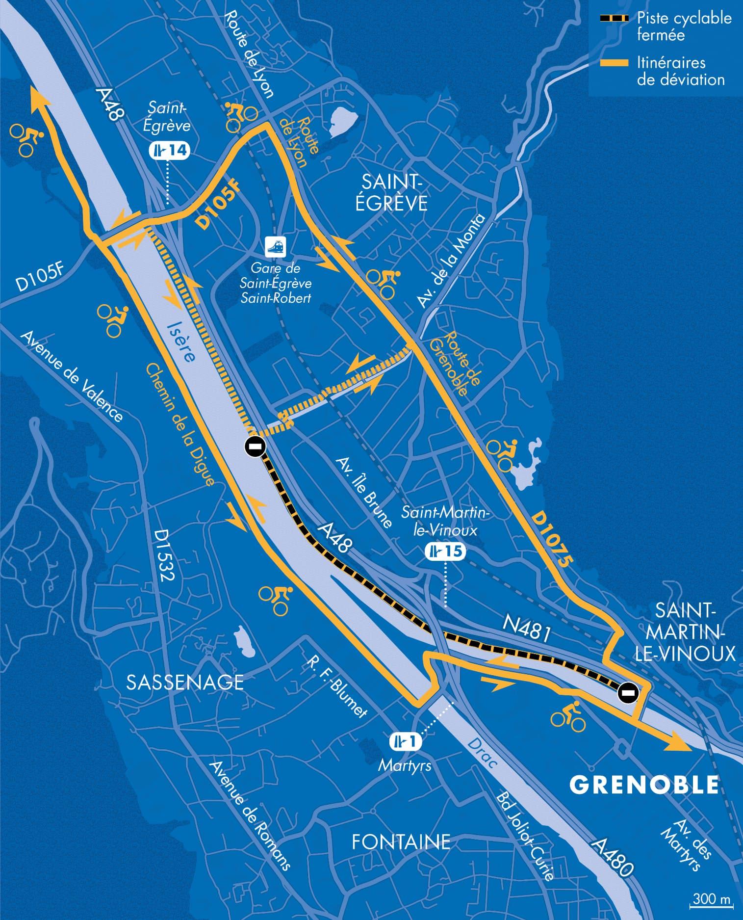 Carte des itinéraires de déviations pour les cyclistes suite à la fermeture de la voie sur berge en rive droite de l'Isère à Grenoble