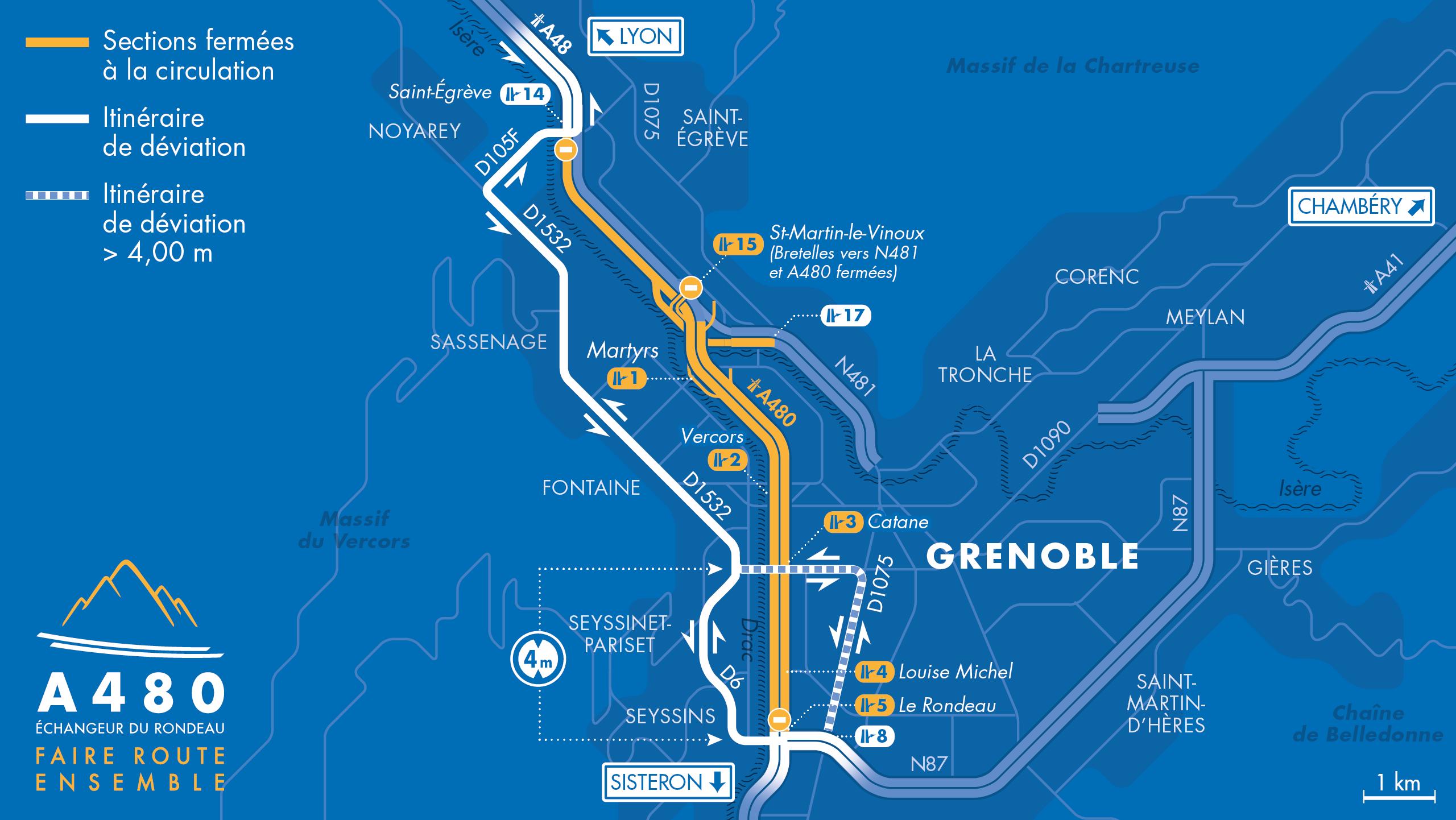carte de déviation entre le diffuseur de Saint-Egrève et le diffuseur du Rondeau ainsi qu'entre le diffuseur du Rondeau et la bifurcation A48/A480/N481