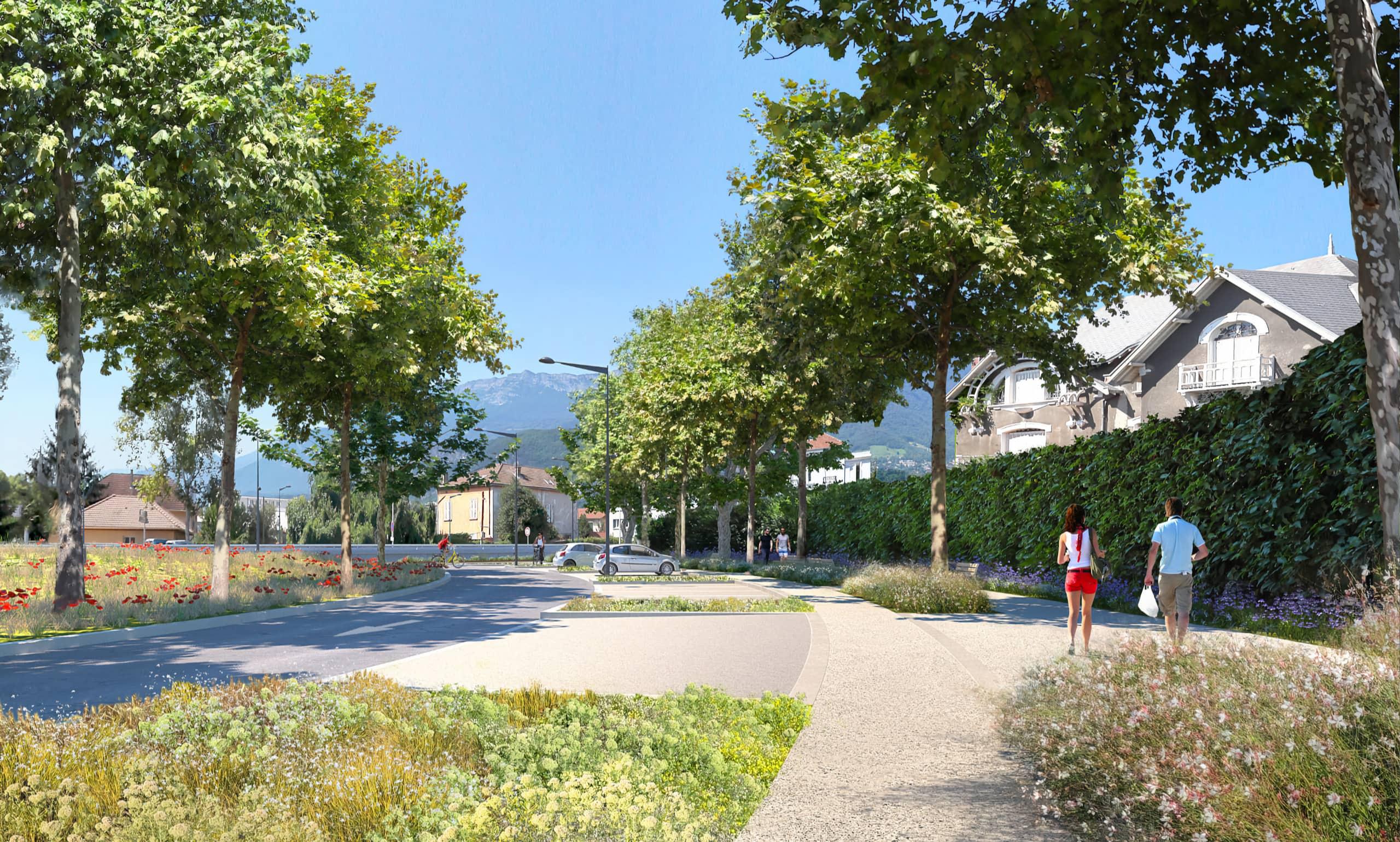 Vue 3d du Nouvel aménagement du secteur du Rondeau à Grenoble