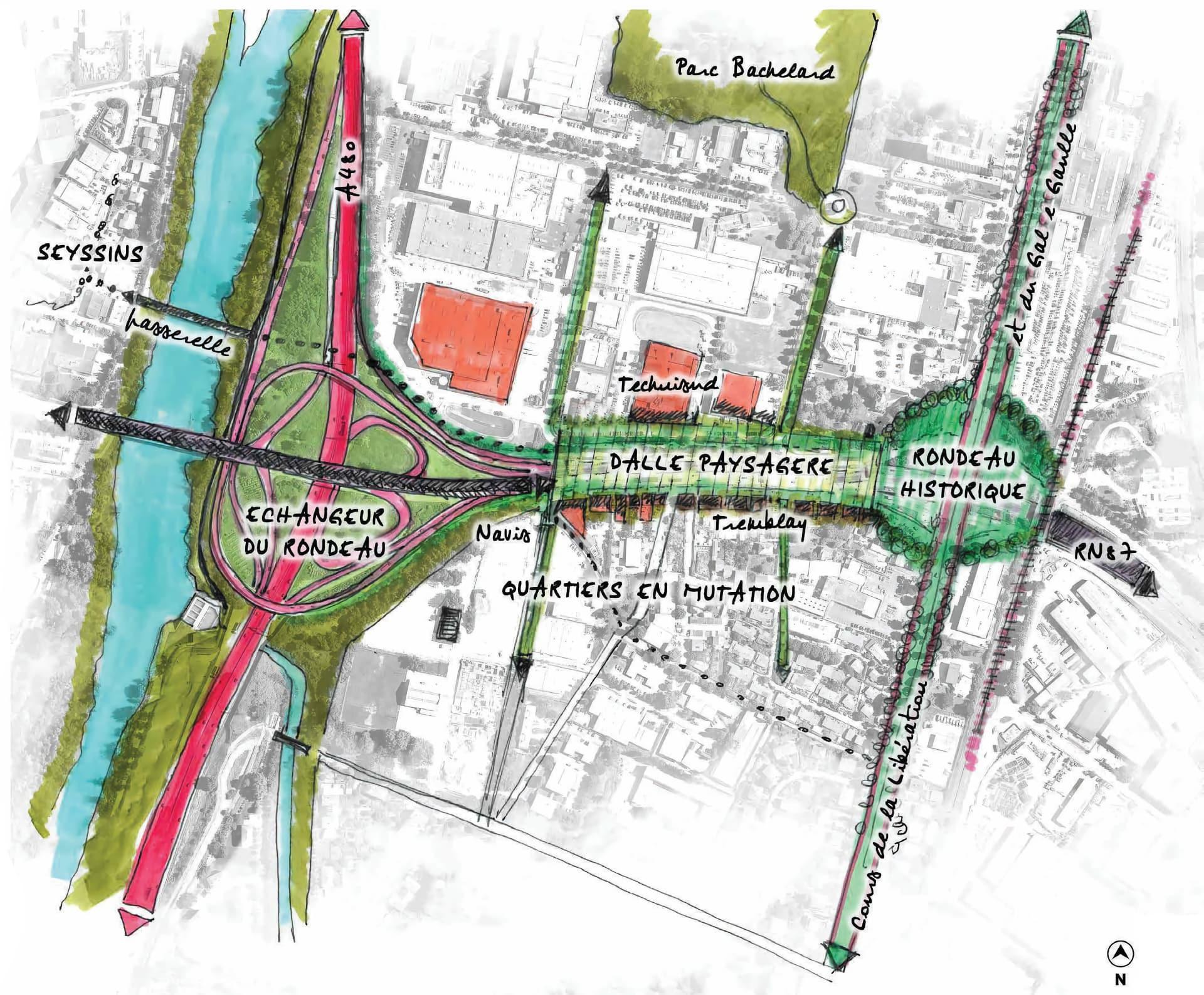 Croquis des nouveaux aménagements du Rondeau à Grenoble