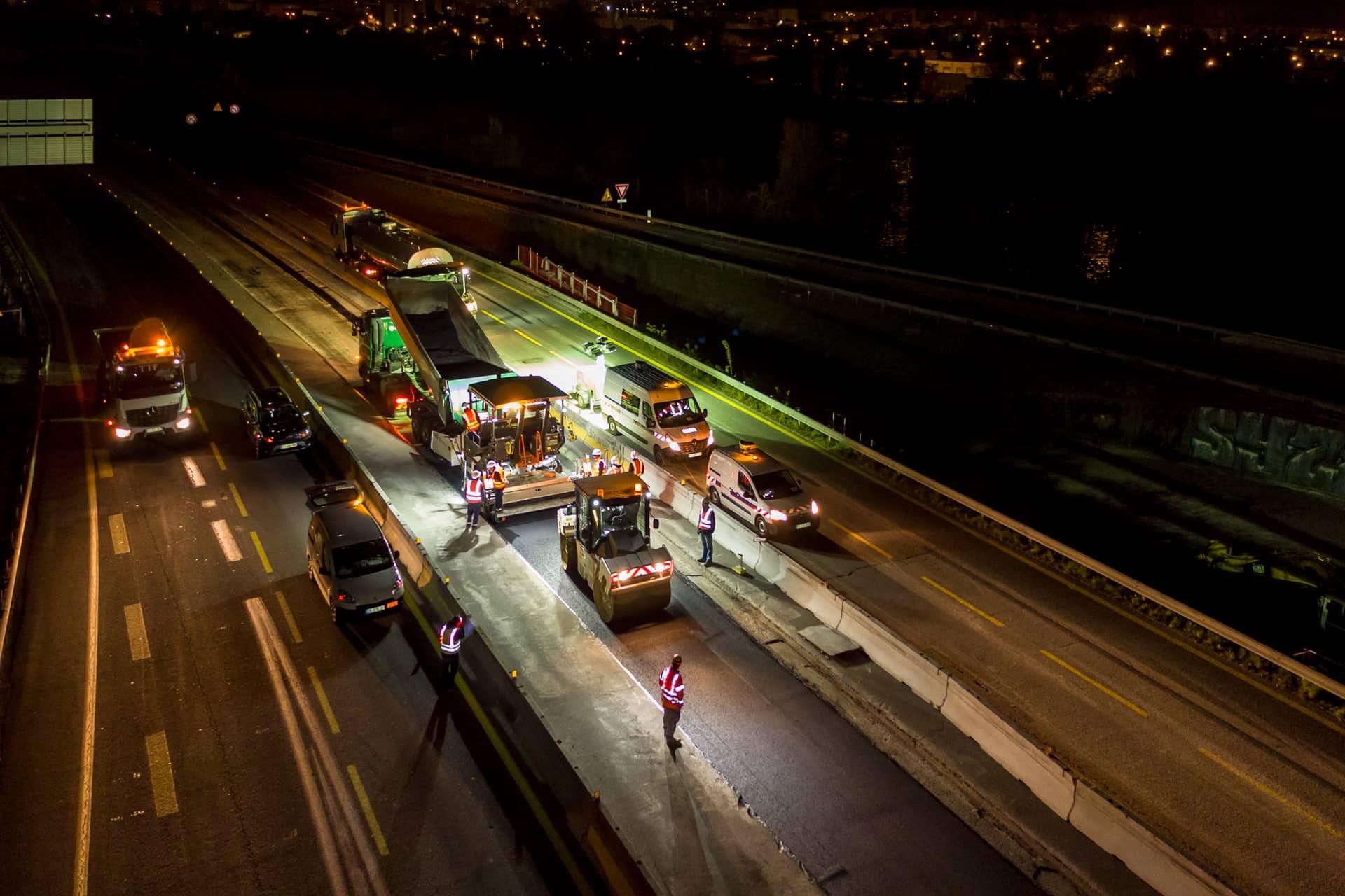 Travaux de nuit sur l'autoroute A480 par les équipes d'AREA