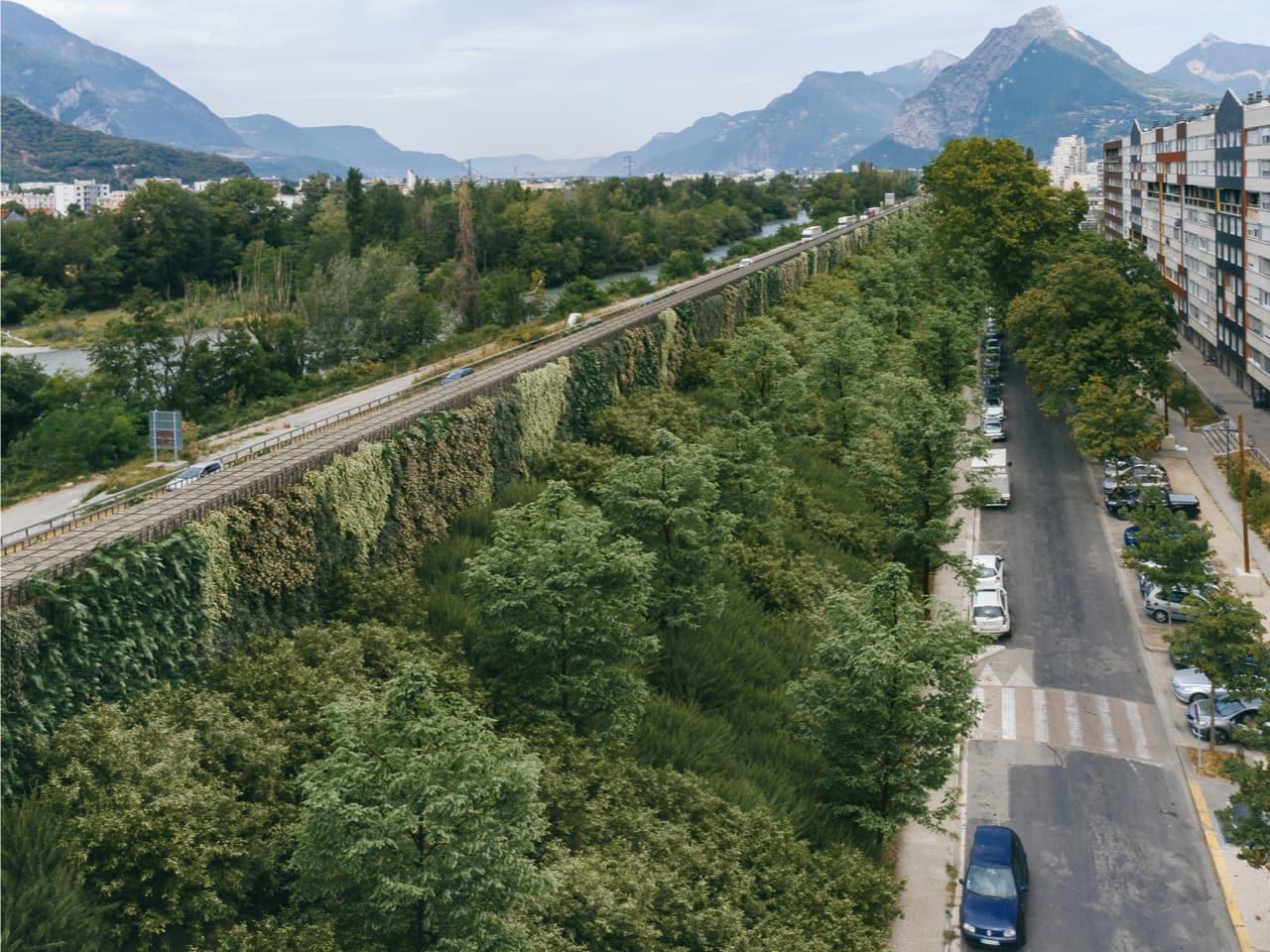 vue 3d de l'écran acoustique végétal sur le secteur de Mistral à Grenoble le long de l'autoroute A480