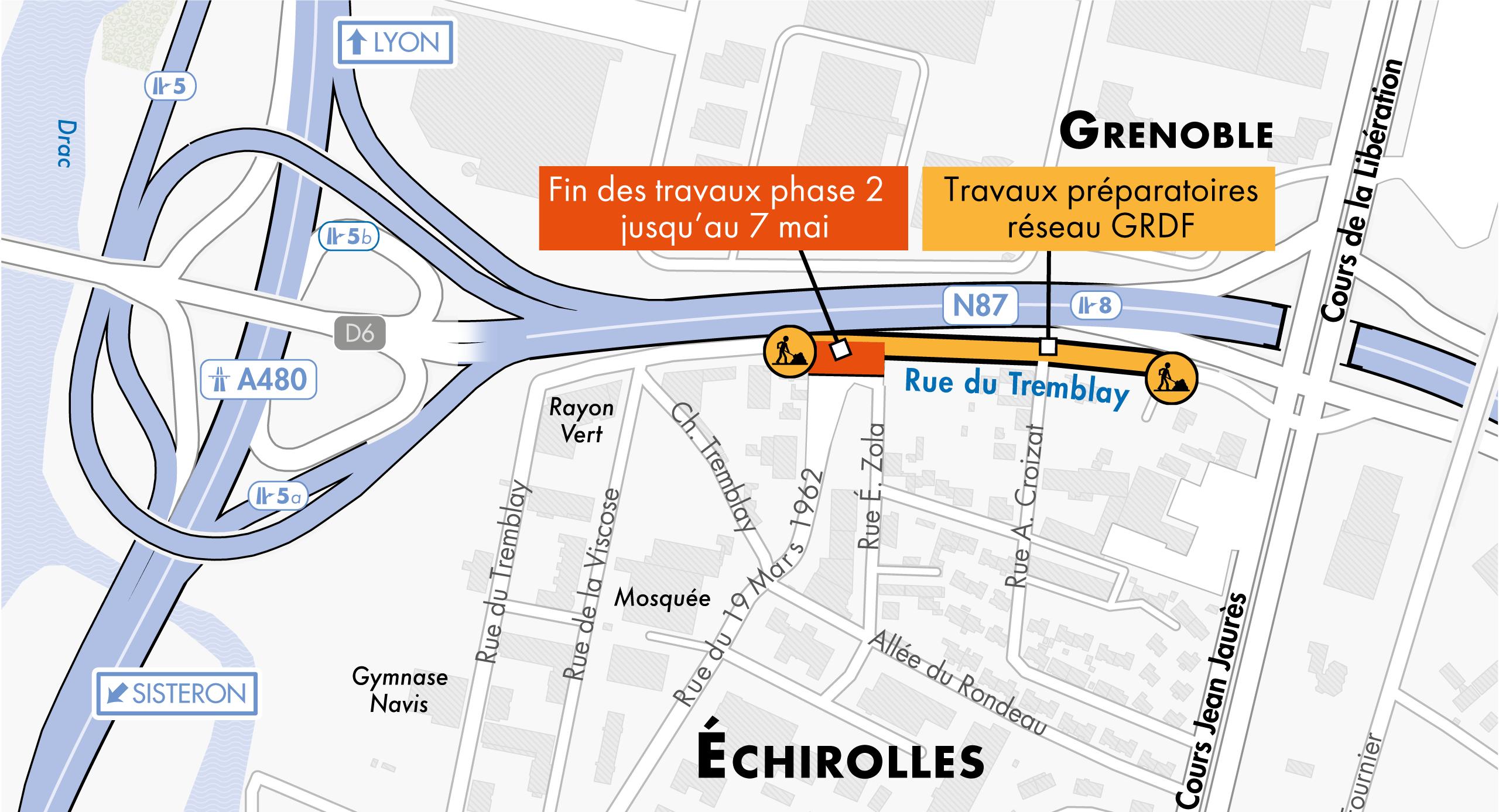 Carte des travaux préparatoires sur le réseau de gaz des la rue Tremblay à Échirolles par les équipes de la maîtrise d'ouvrage GRDF