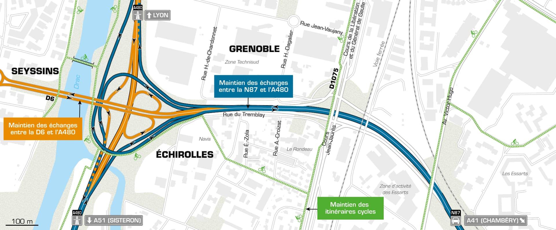 carte de l'aménagement du Rondeau sur l'agglomération grenobloise