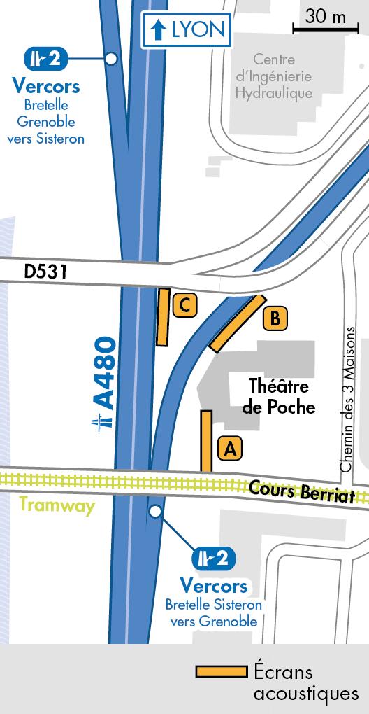 Plan des aménagement de la bretelle de sortie du diffuseur n°2 au niveau du pont de Vercors sur l'autoroute a480