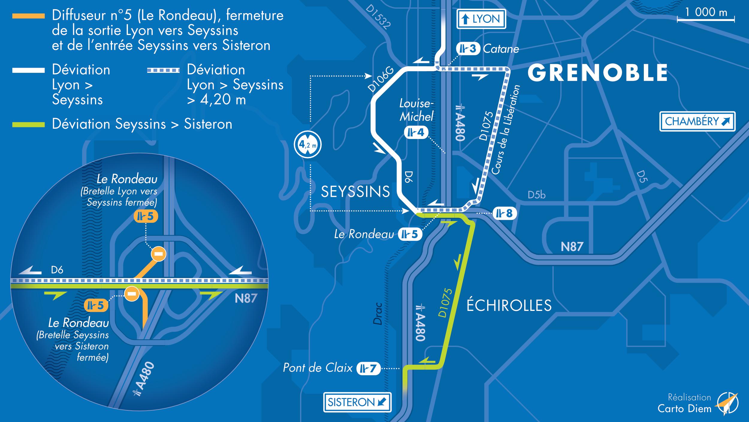 Carte de déviation suite à la fermeture de la bretelle d'entrée depuis D6 et la bretelle de sortie vers D6 dans le sens Lyon-Sisteron du diffuseur de Seyssins