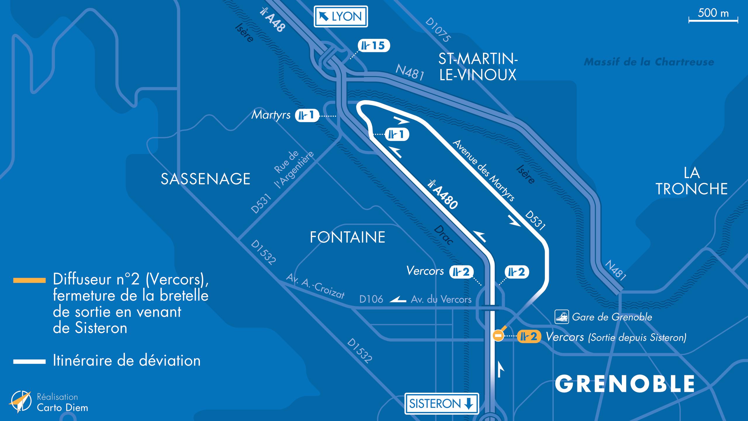 Carte de déviation suite à la fermeture de la bretelle de sortie depuis Sisteron vers Grenoble du diffuseur de Vercors
