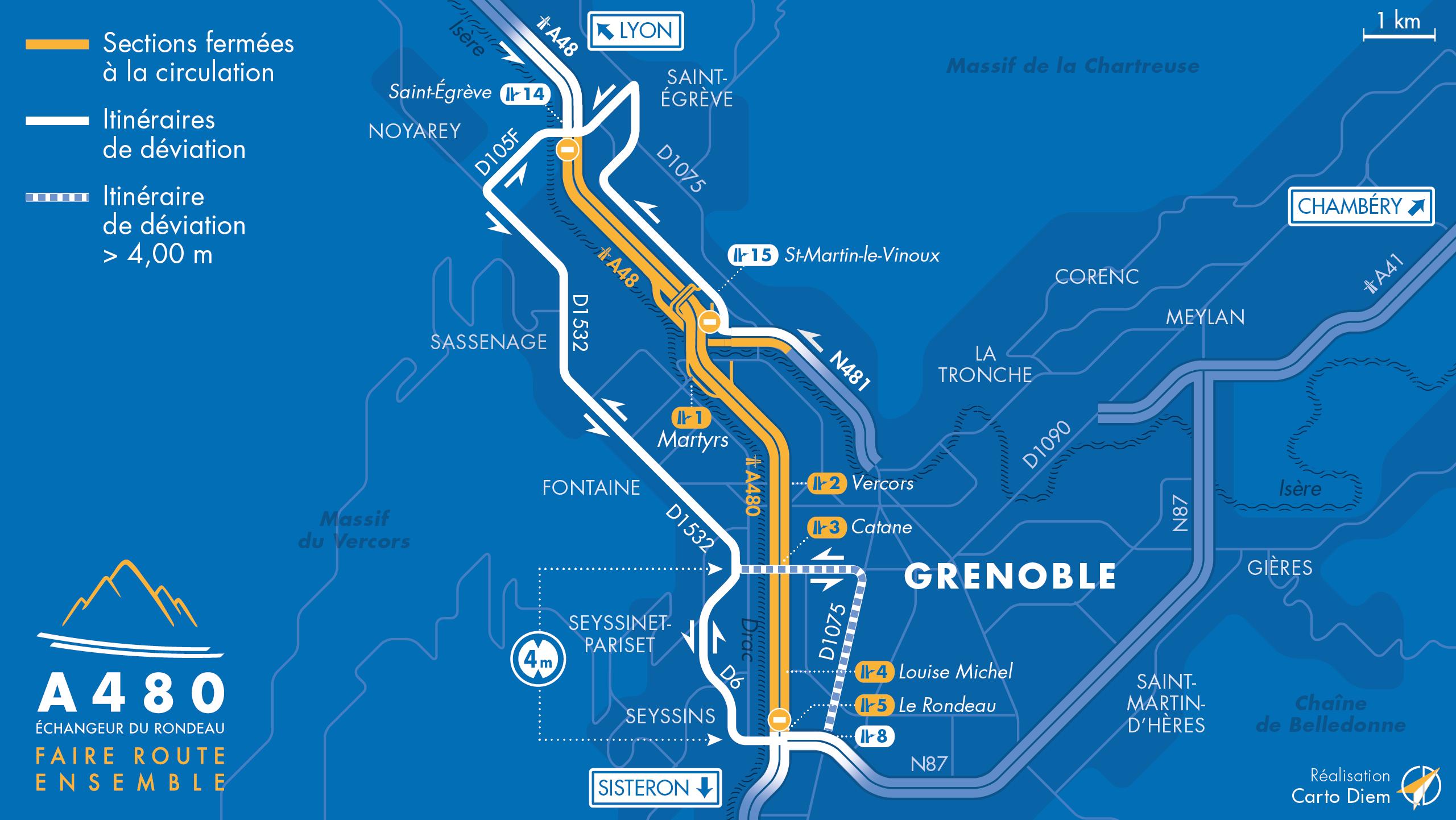 carte des déviations suite à la fermeture des diffuseur entre Saint-Égrève; Oxford la bifurcation A48/A480 et le Rondeau.