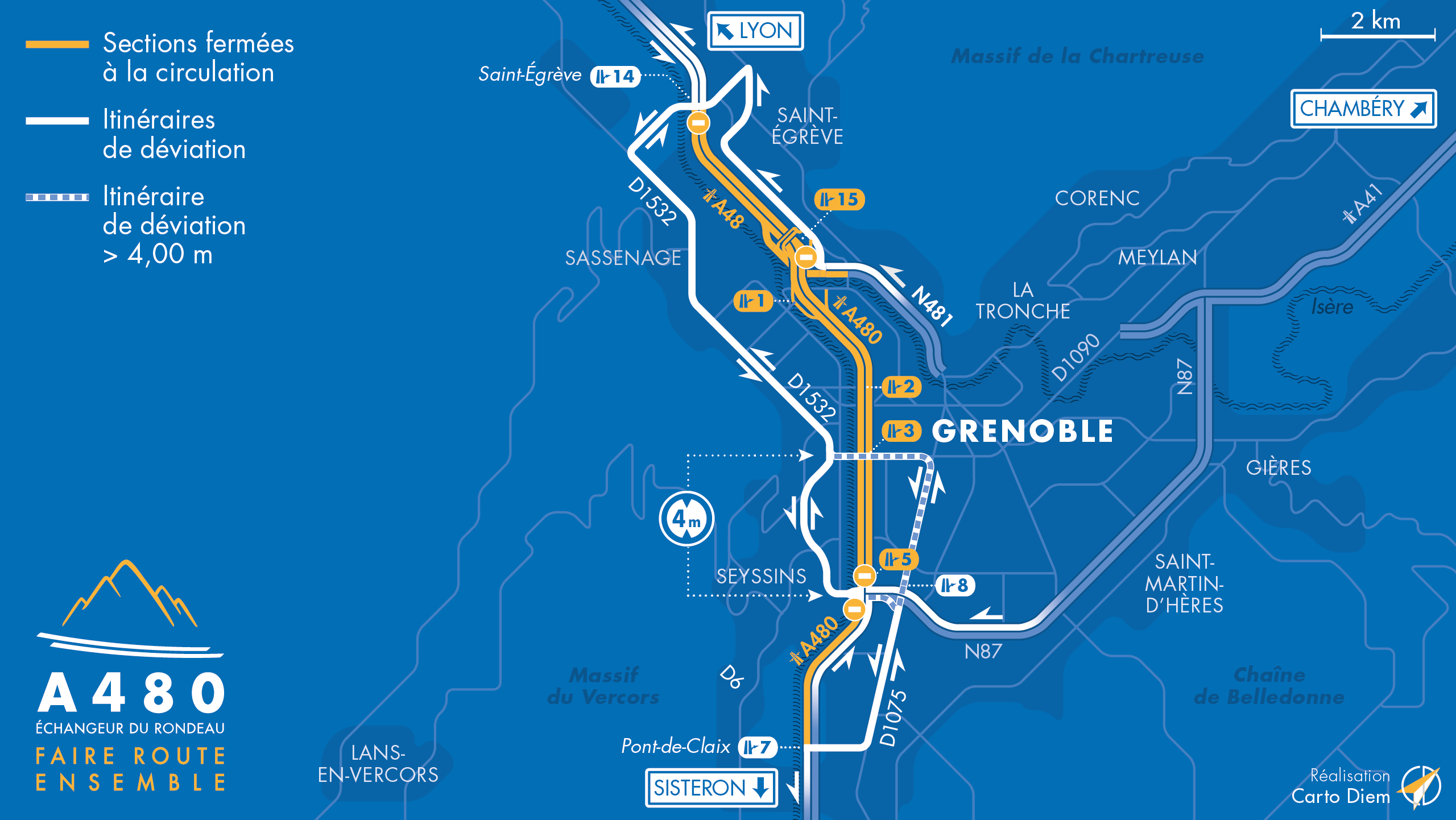 carte des déviations suite à la fermeture des diffuseur entre Saint-Égrève; Oxford la bifurcation A48/A480, le Rondeau et le pont-de-Claix.