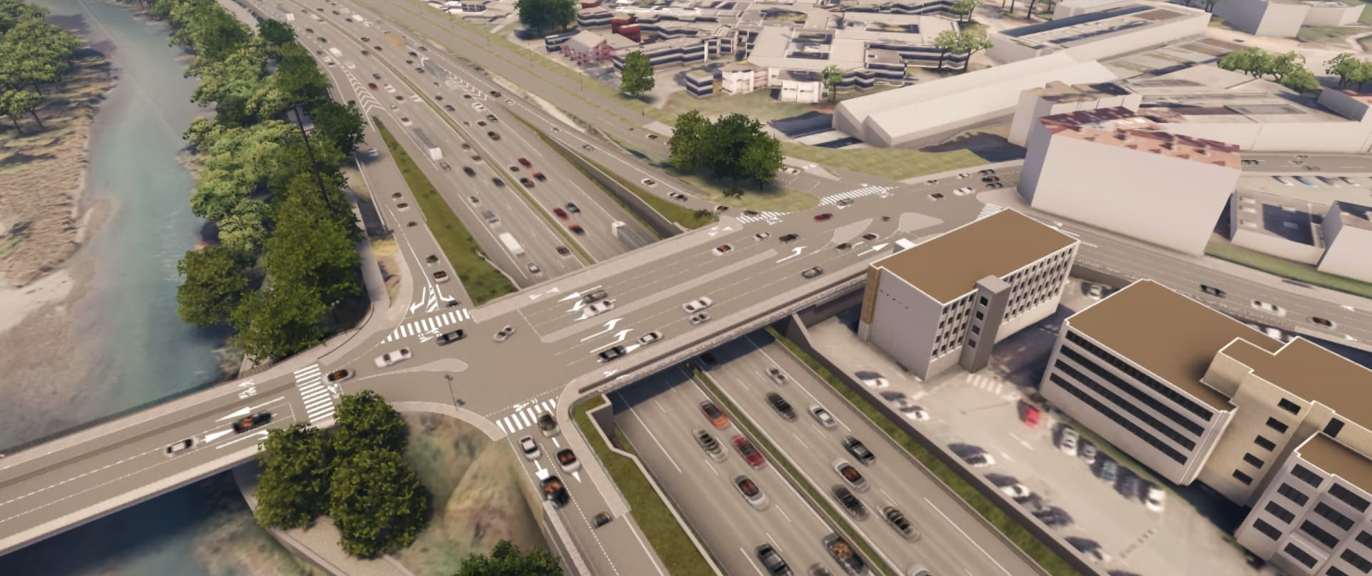 rendu 3D de l'extention en deux fois deux voies du pont de Vercors au dessus de l'autoroute A480