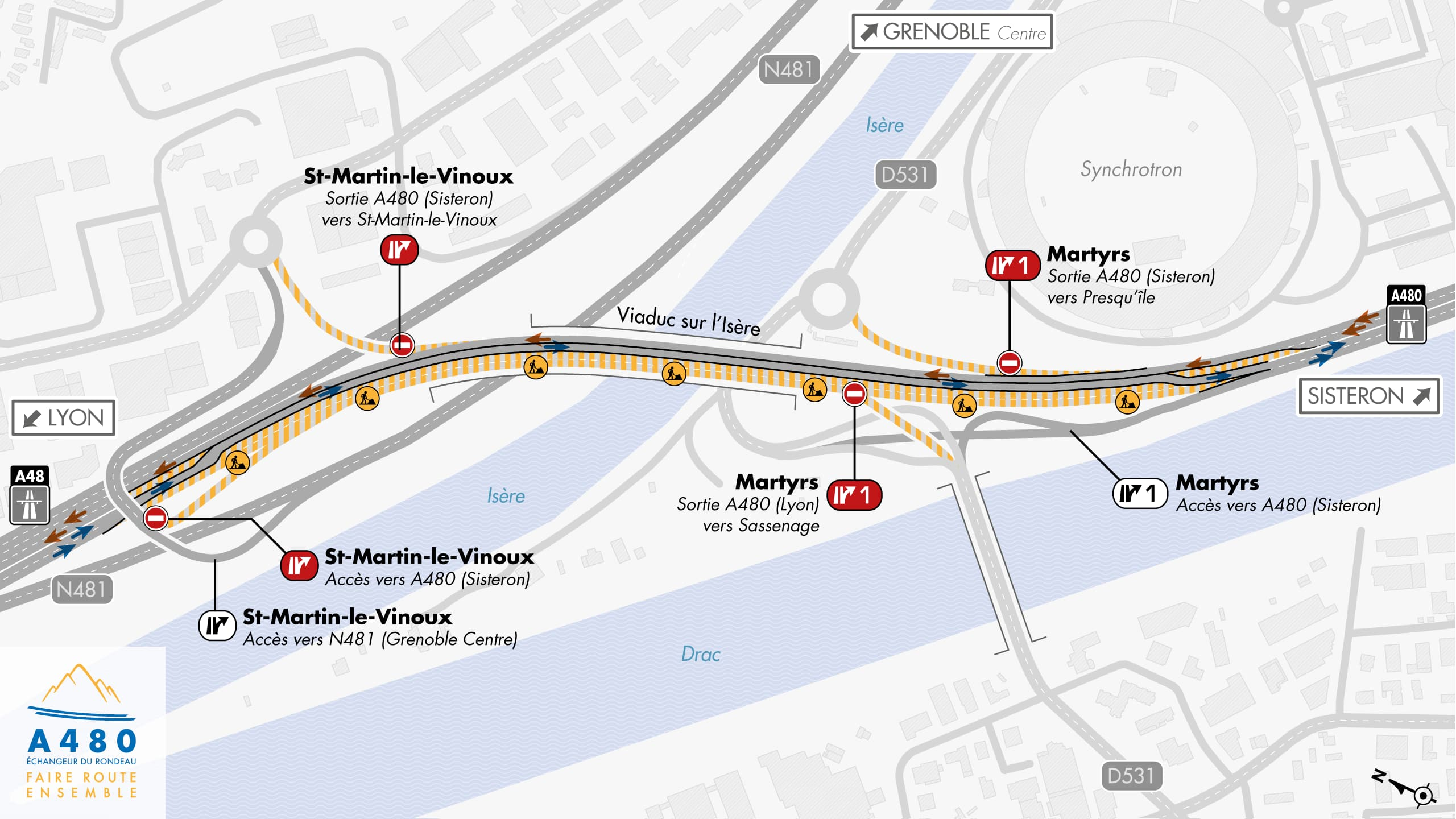 Carte de déviation suite à la connexion du nouveau tablier au tablier existant sur le viaduc de l'Isère par les équipes d'AREA