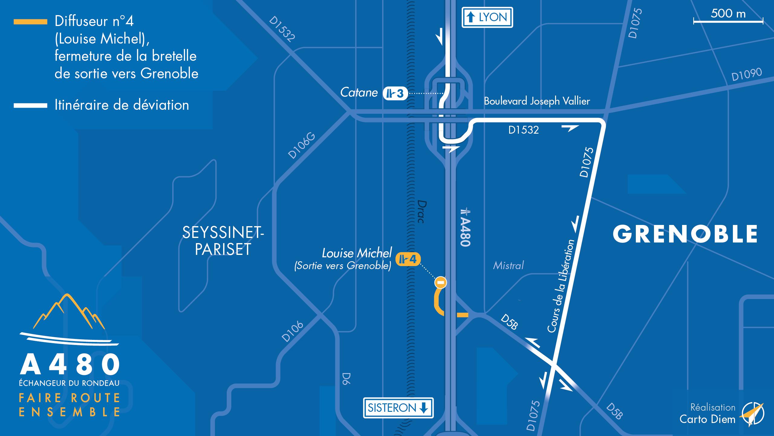 Déviation suite aux travaux sur la bretelle de sortie vers Grenoble depuis Lyon sur l'autoroute A480